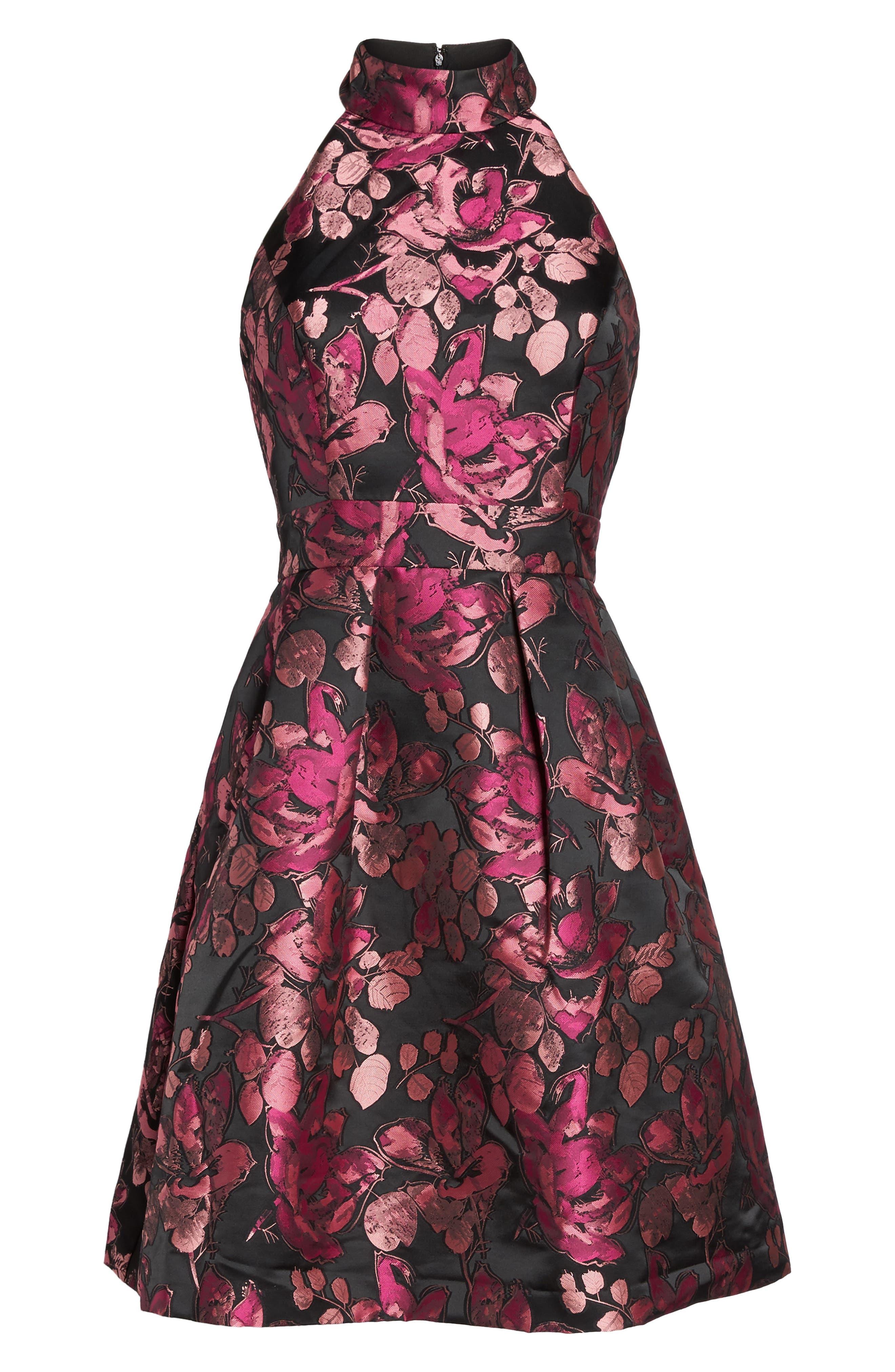 Floral Halter Fit & Flare Dress,                             Alternate thumbnail 6, color,                             650