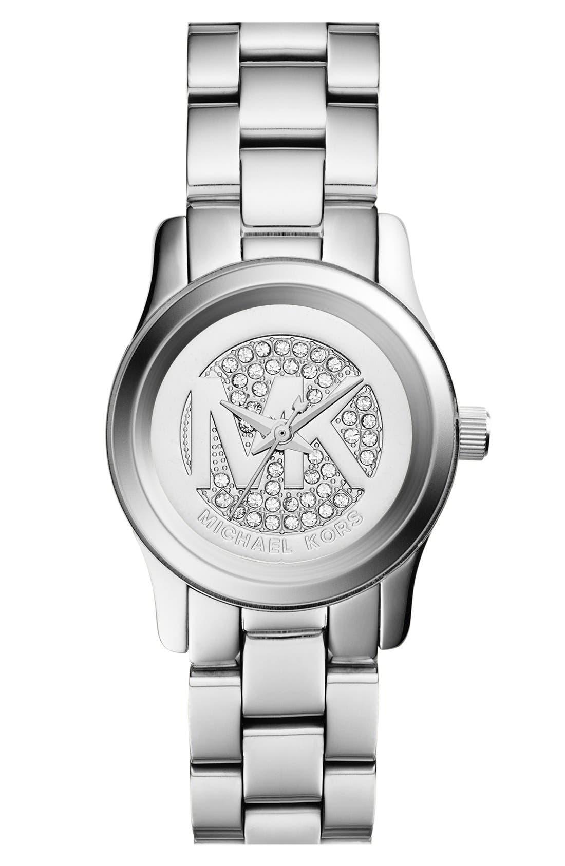 Michael Kors 'Petite Runway' Logo Dial Bracelet Watch, 26mm, Main, color, 040