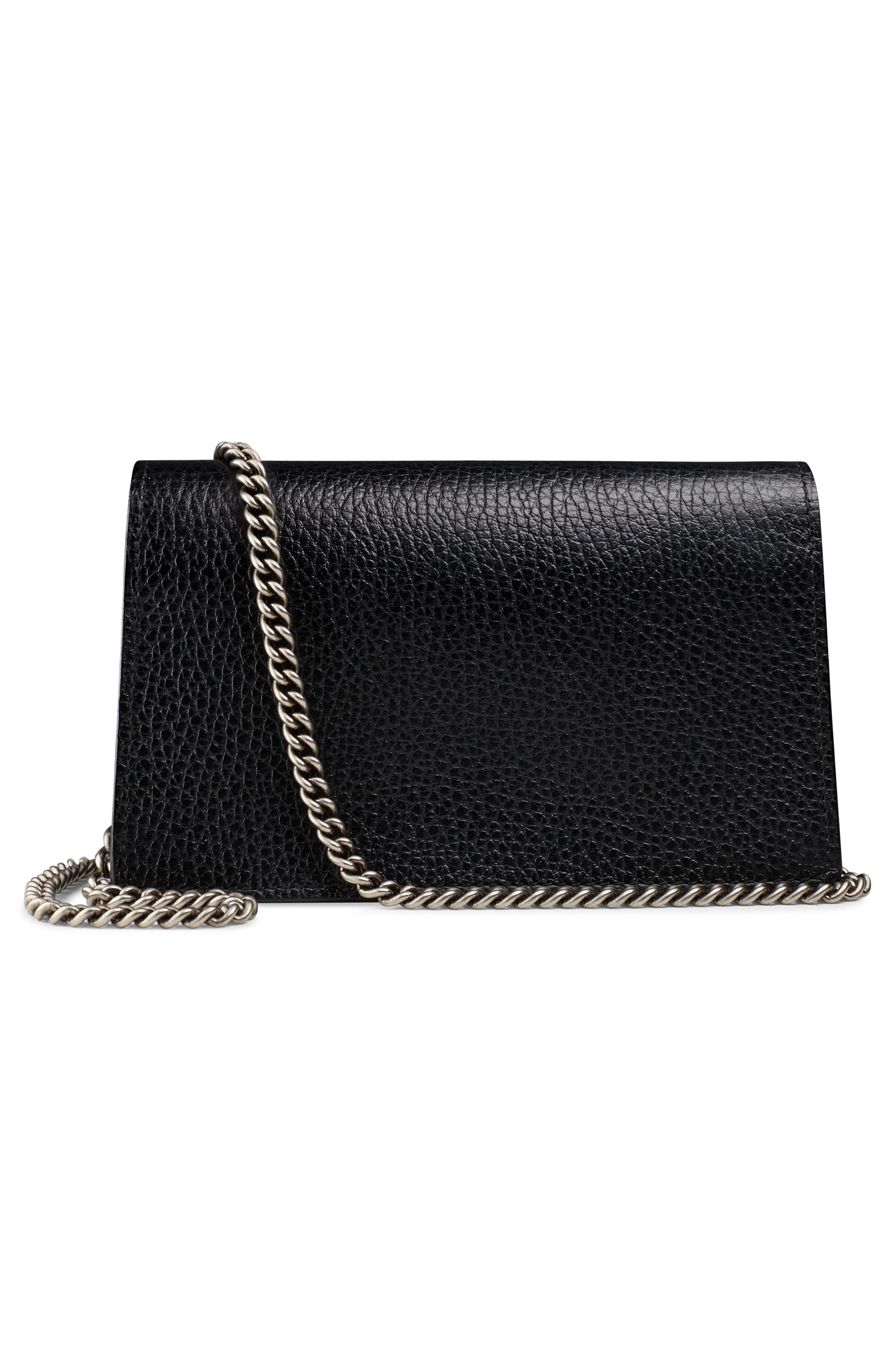 GUCCI,                             Super Mini Dionysus Leather Shoulder Bag,                             Alternate thumbnail 2, color,                             001