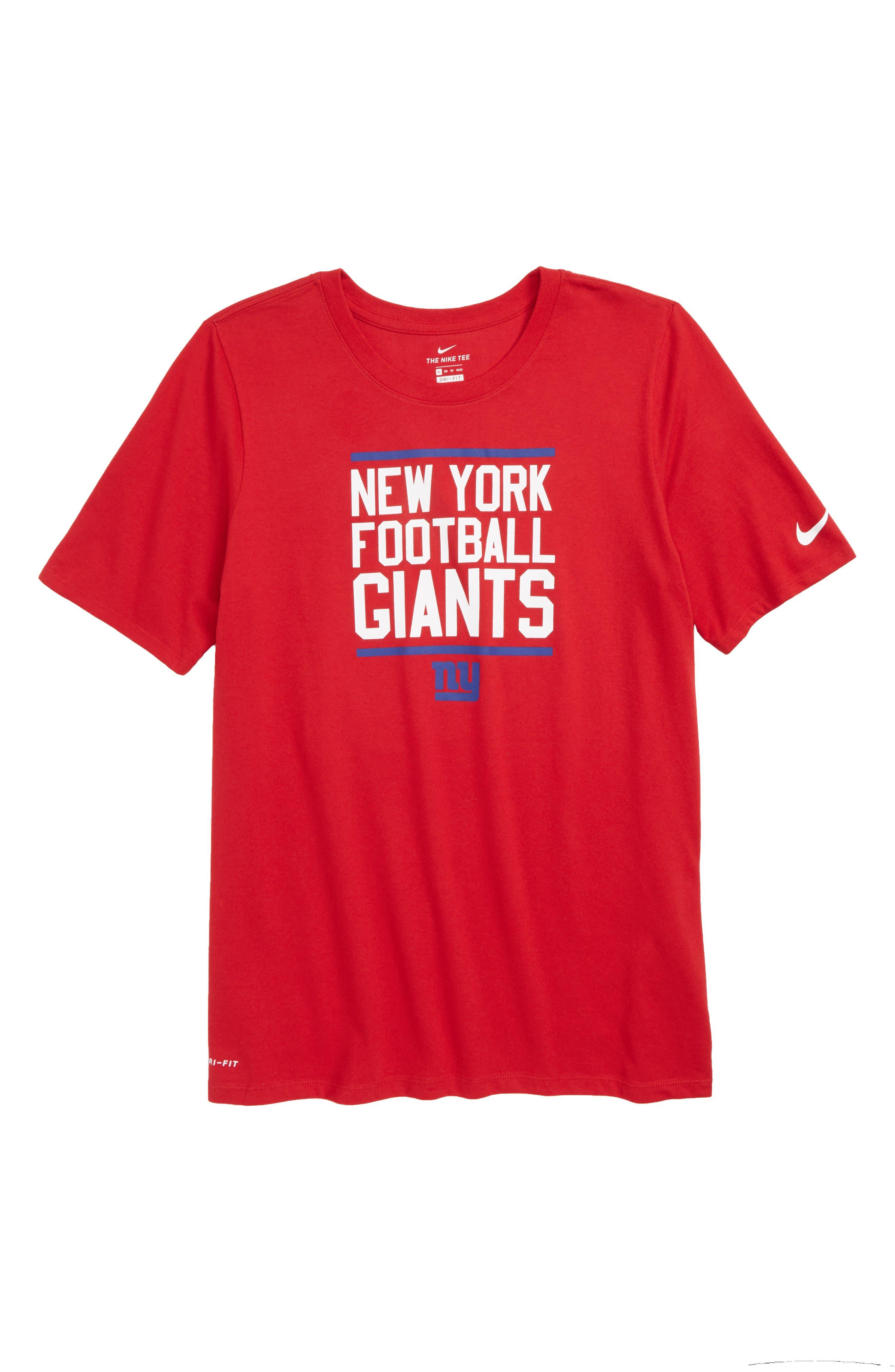 Dry Hyperlocal NFL New York Giants T-Shirt,                             Main thumbnail 1, color,                             RED