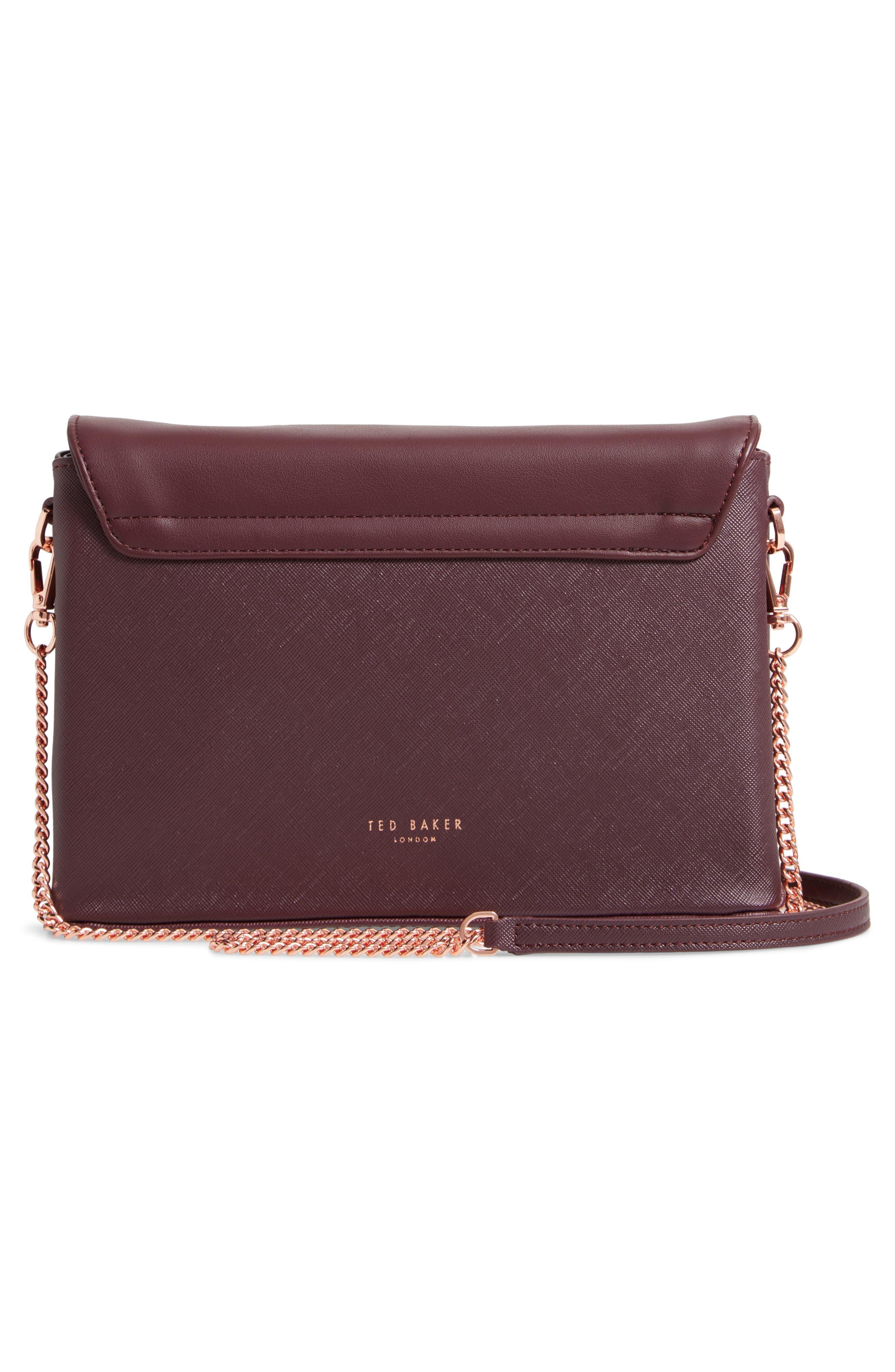 Faux Leather Crossbody Bag,                             Alternate thumbnail 3, color,                             DEEP PURPLE