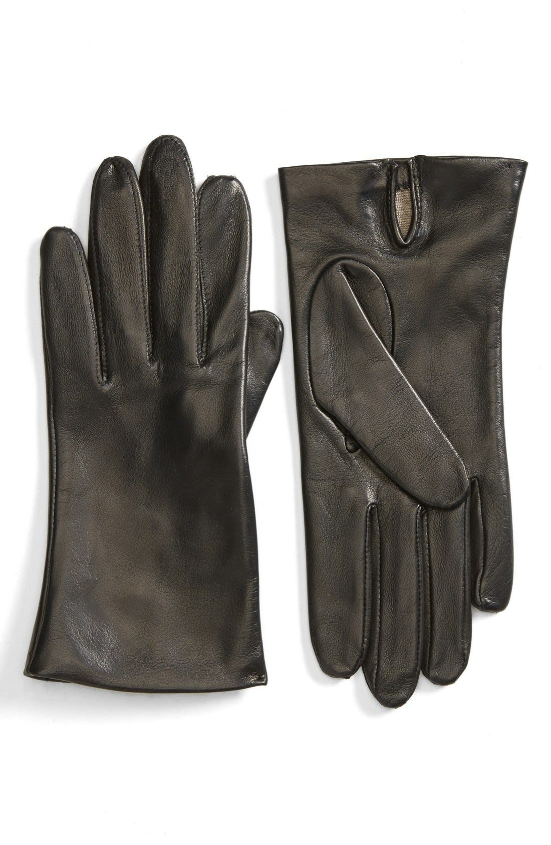 Short Leather Gloves,                             Main thumbnail 1, color,                             001