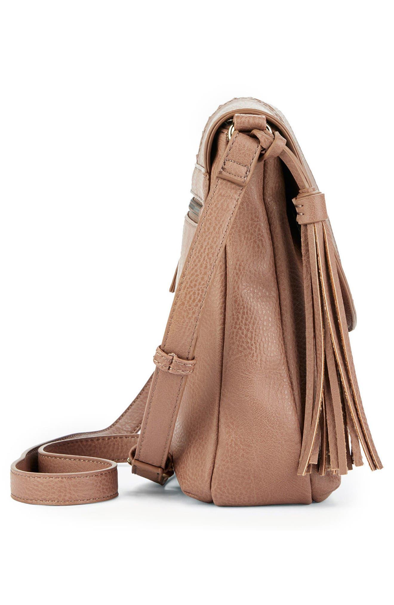 Tara Stitch Detail Faux Leather Crossbody Bag,                             Alternate thumbnail 4, color,                             020