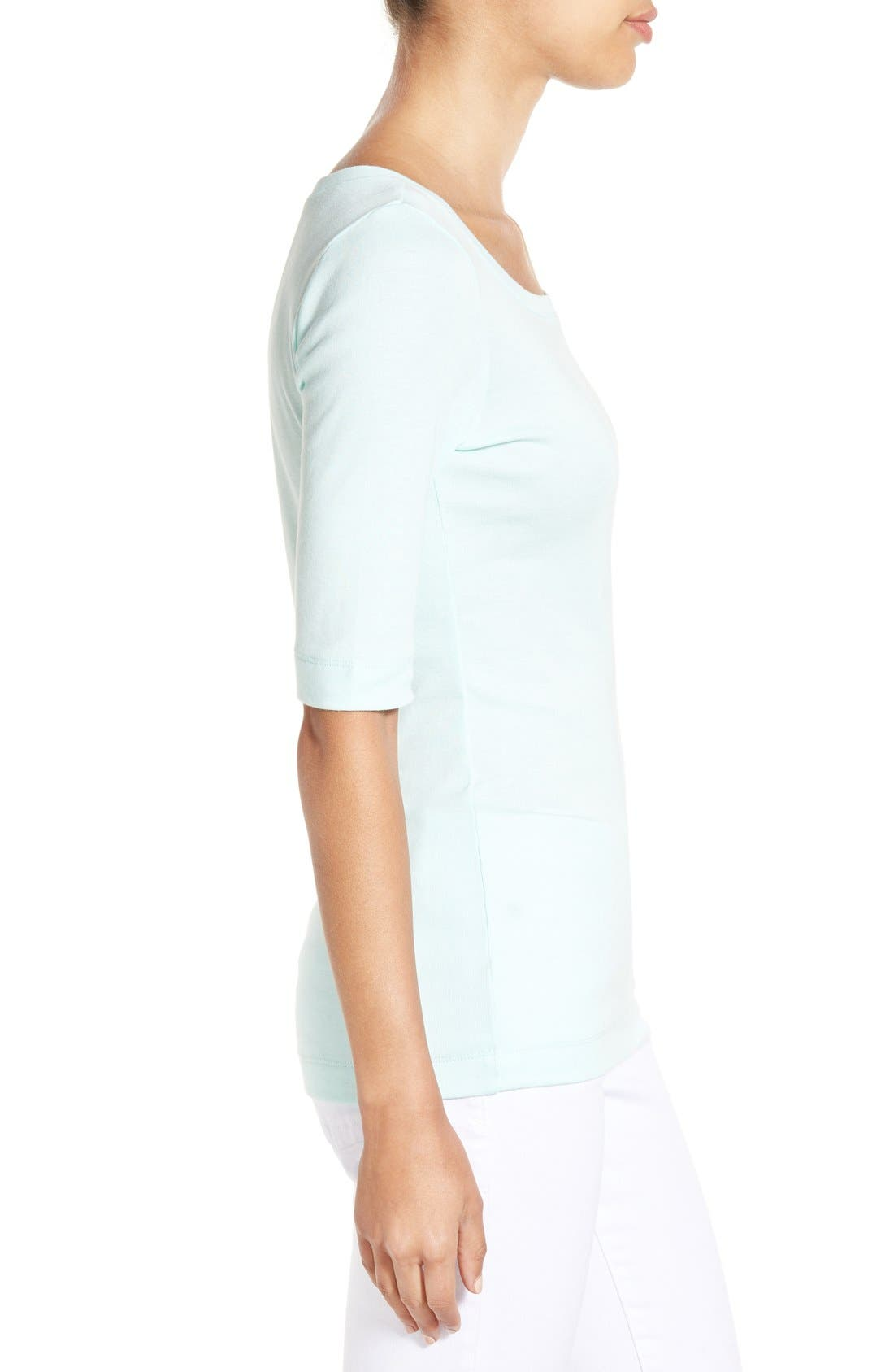Ballet Neck Cotton & Modal Knit Elbow Sleeve Tee,                             Alternate thumbnail 138, color,