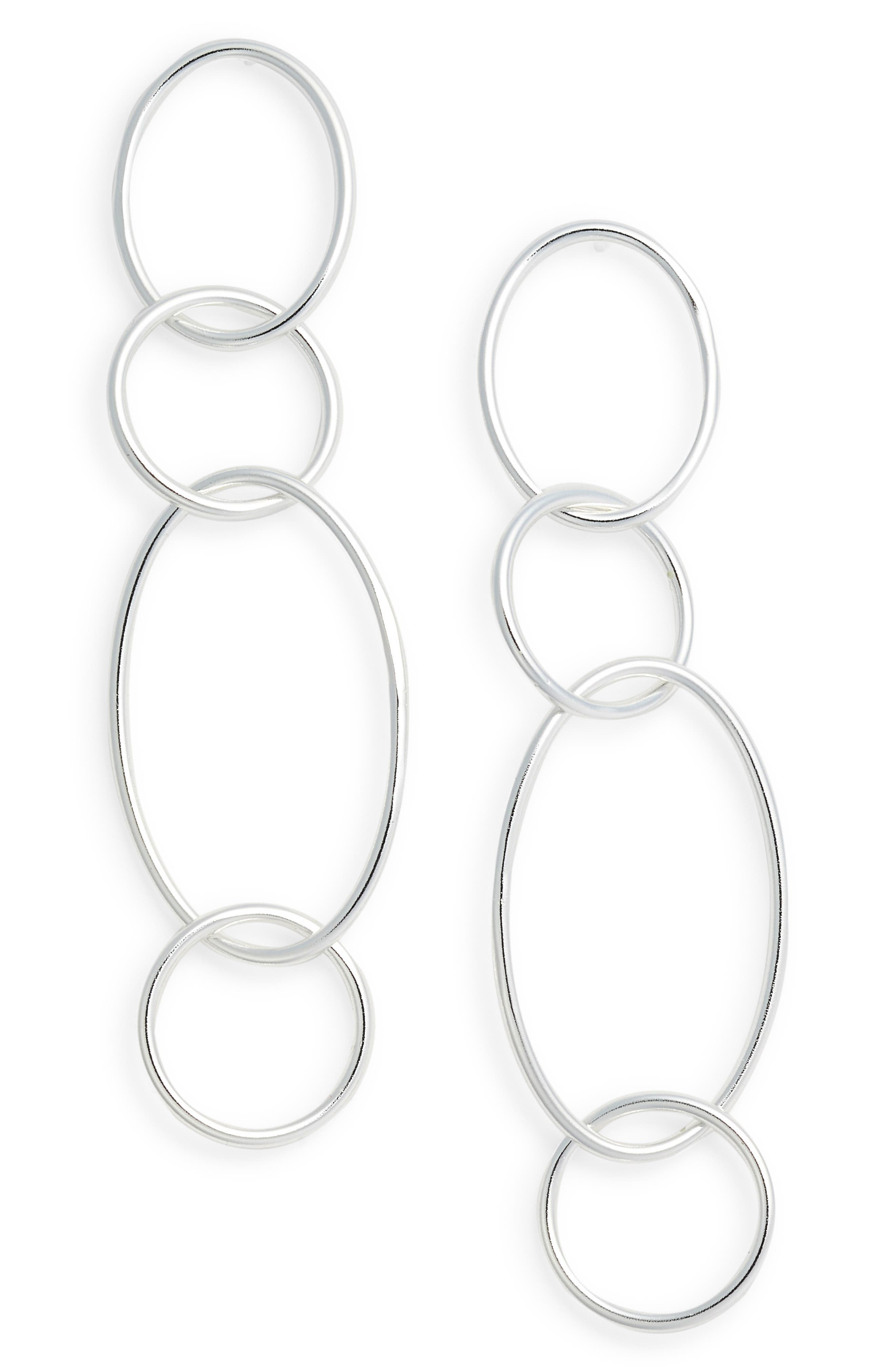 Drop Link Earrings,                         Main,                         color, SILVER