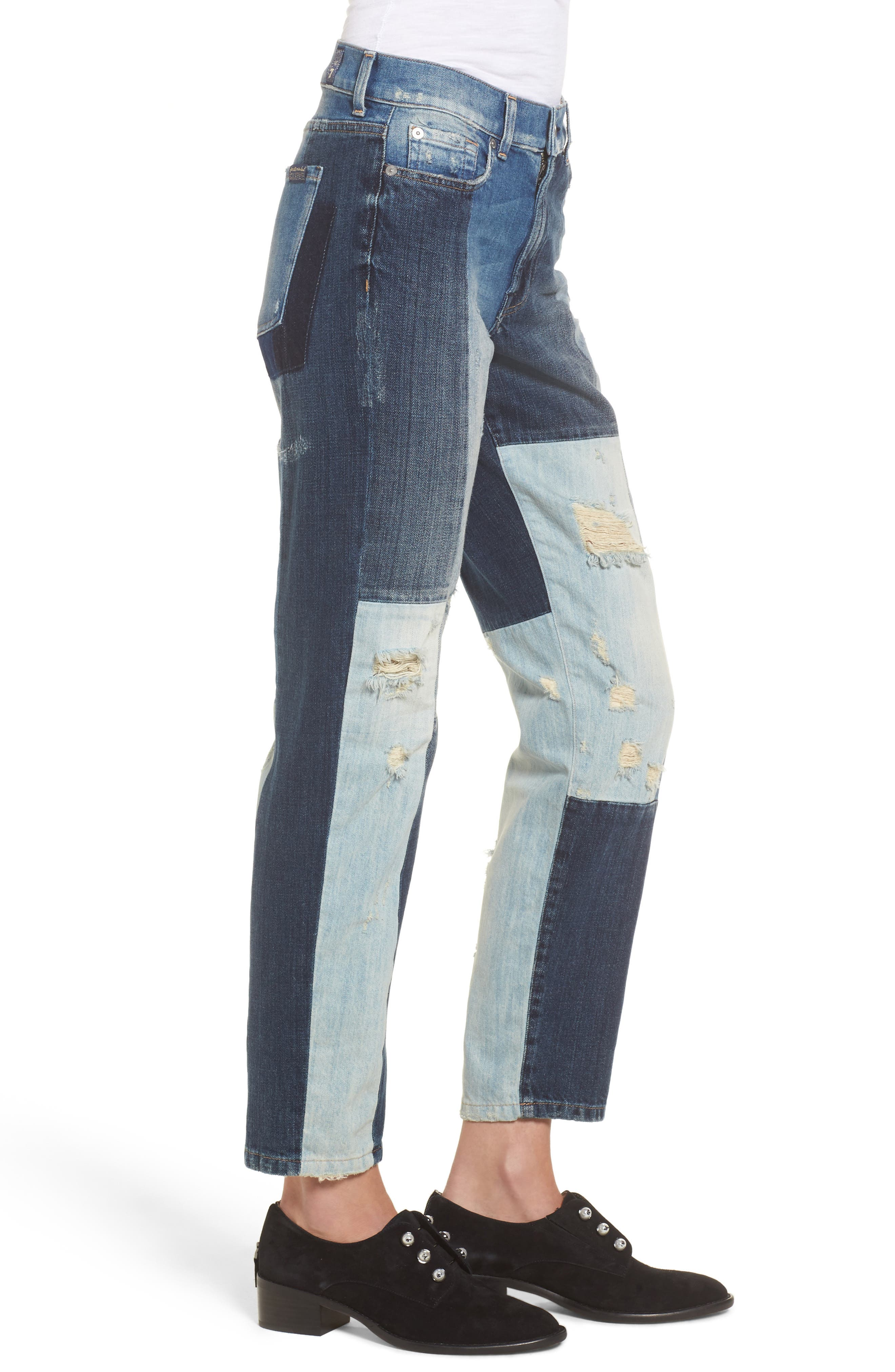 High Waist Patched Slim Jeans,                             Alternate thumbnail 3, color,                             400