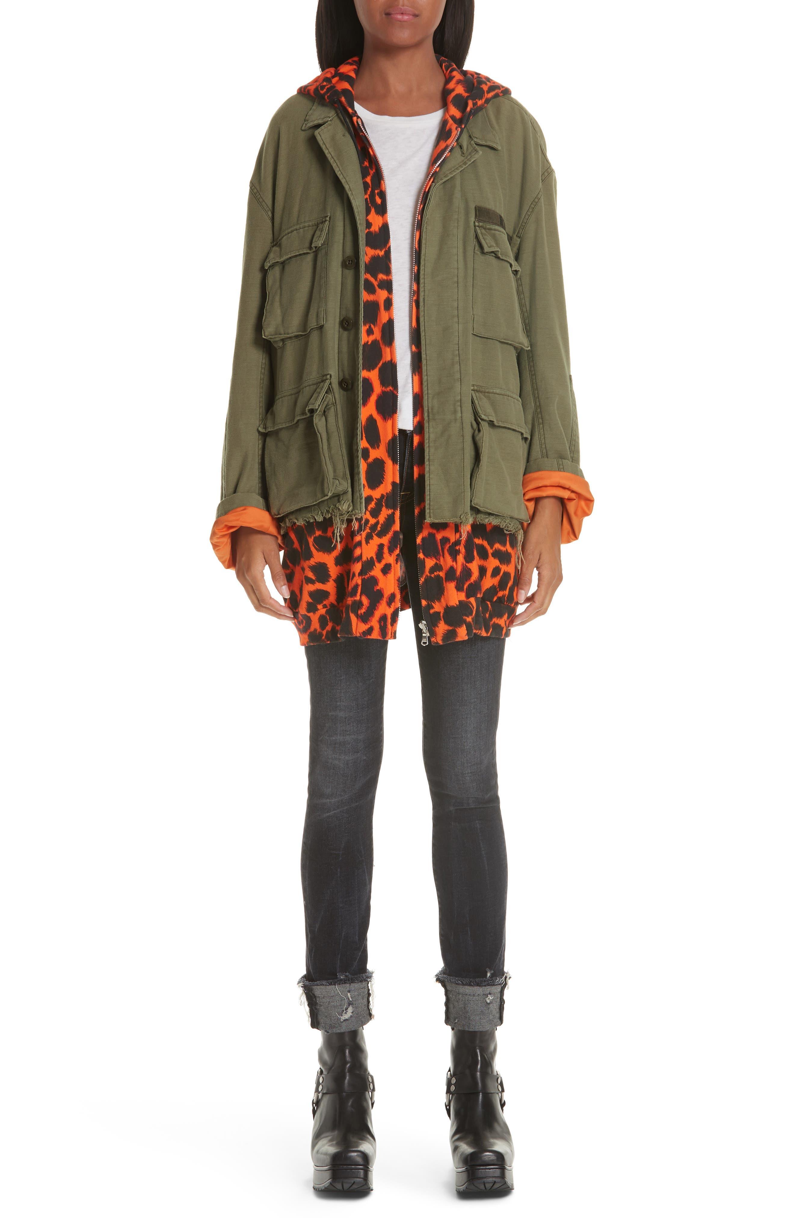 Abu Jacket with Long Leopard Print Hoodie,                             Alternate thumbnail 8, color,                             OLIVE/ ORANGE
