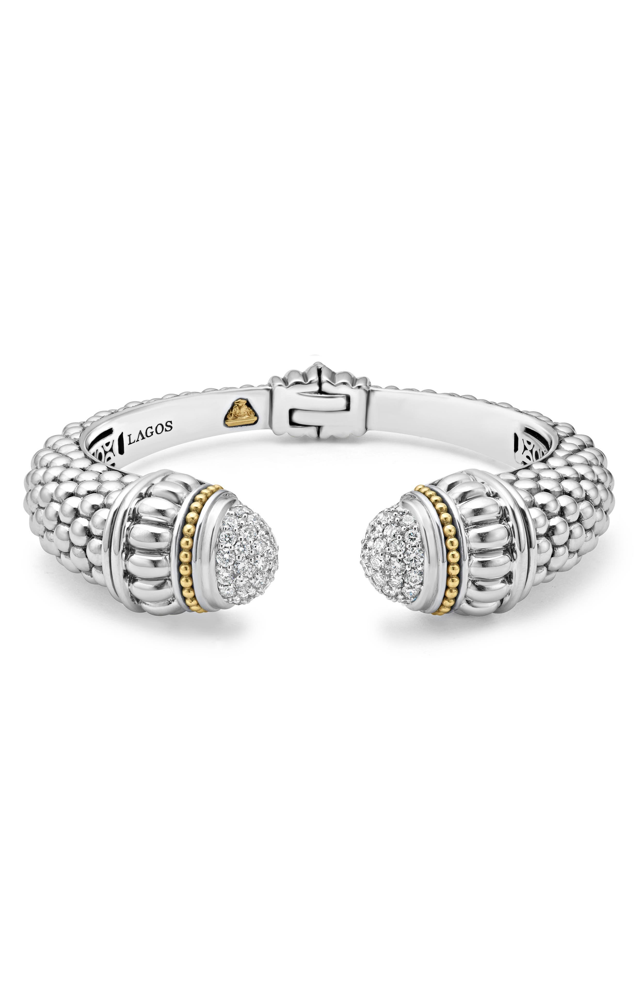 Caviar Diamond Hinge Cuff,                             Main thumbnail 1, color,                             SILVER