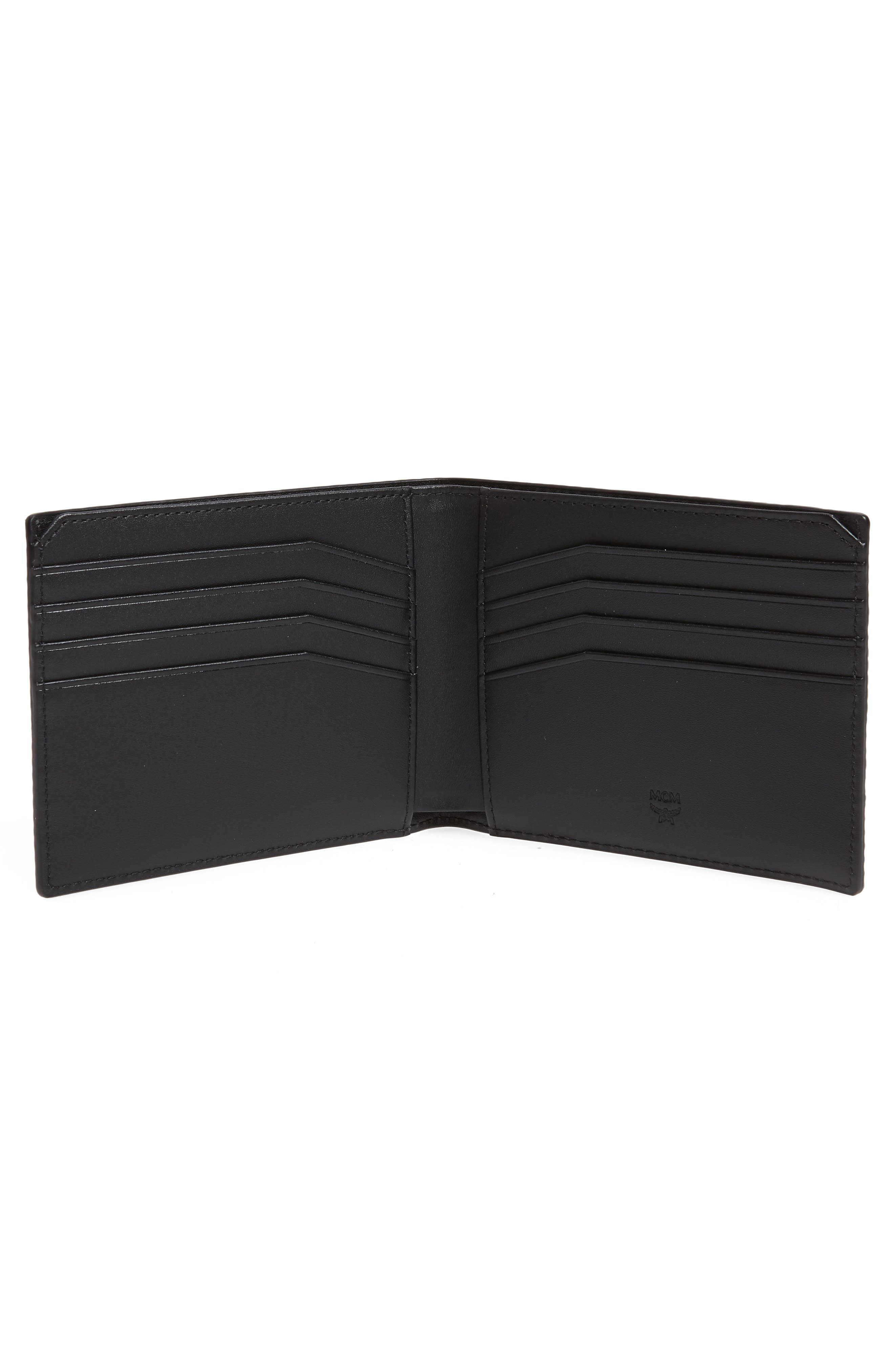 Coburg Lion Patent Leather Bifold Card Case,                             Alternate thumbnail 2, color,                             BLACK