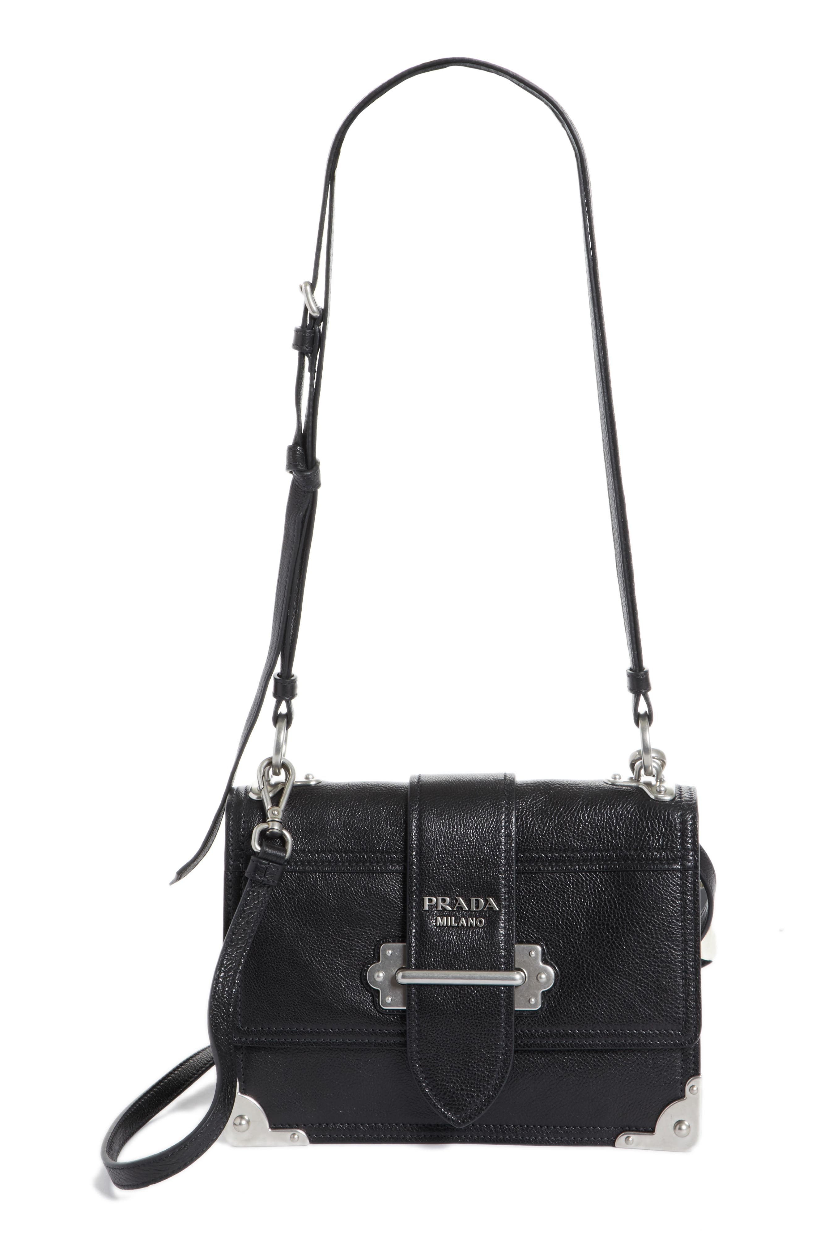 PRADA Cahier Glace Calfskin Convertible Shoulder Bag, Main, color, 001