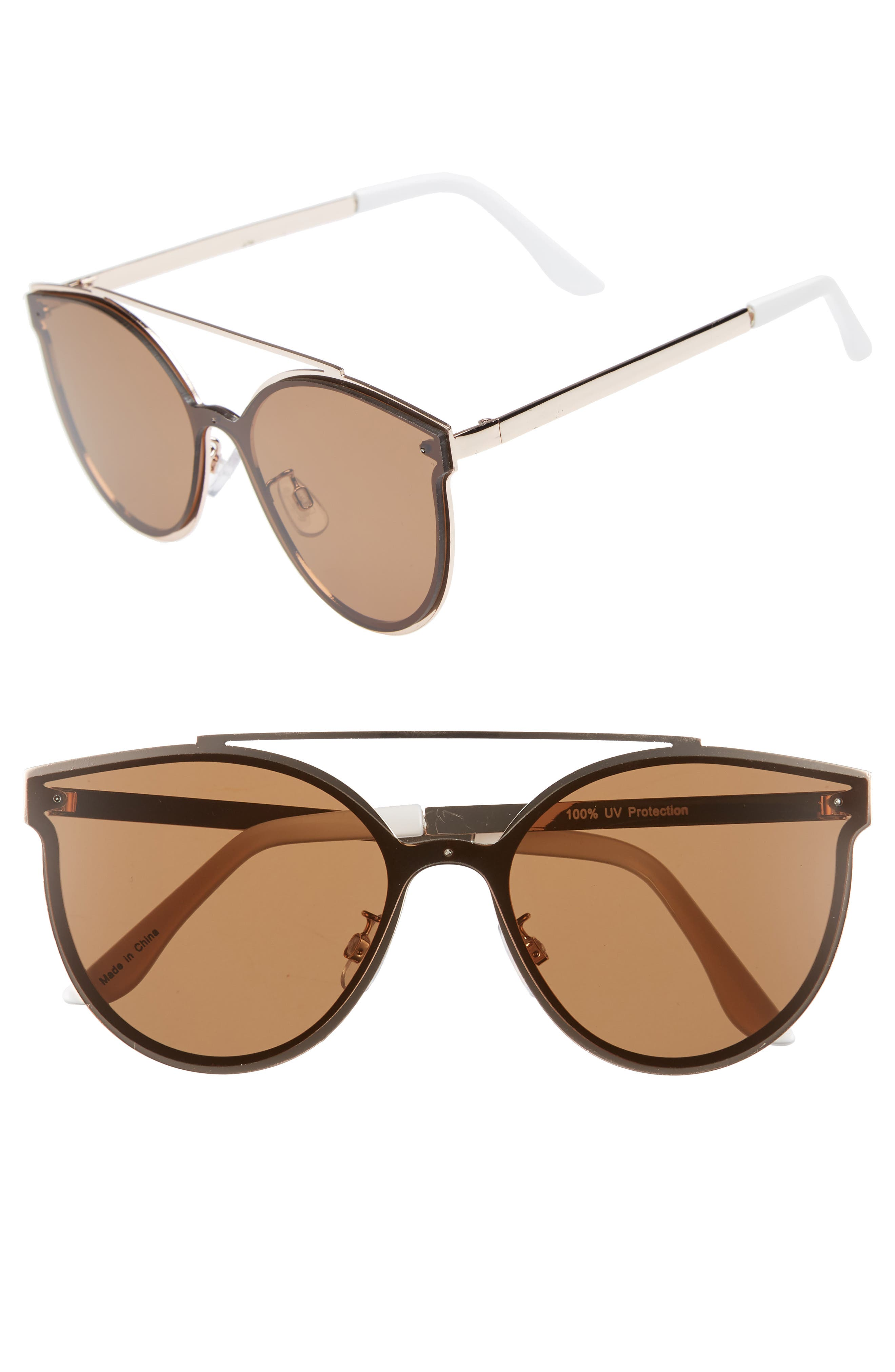 58mm Brow Bar Sunglasses,                             Main thumbnail 1, color,                             GOLD