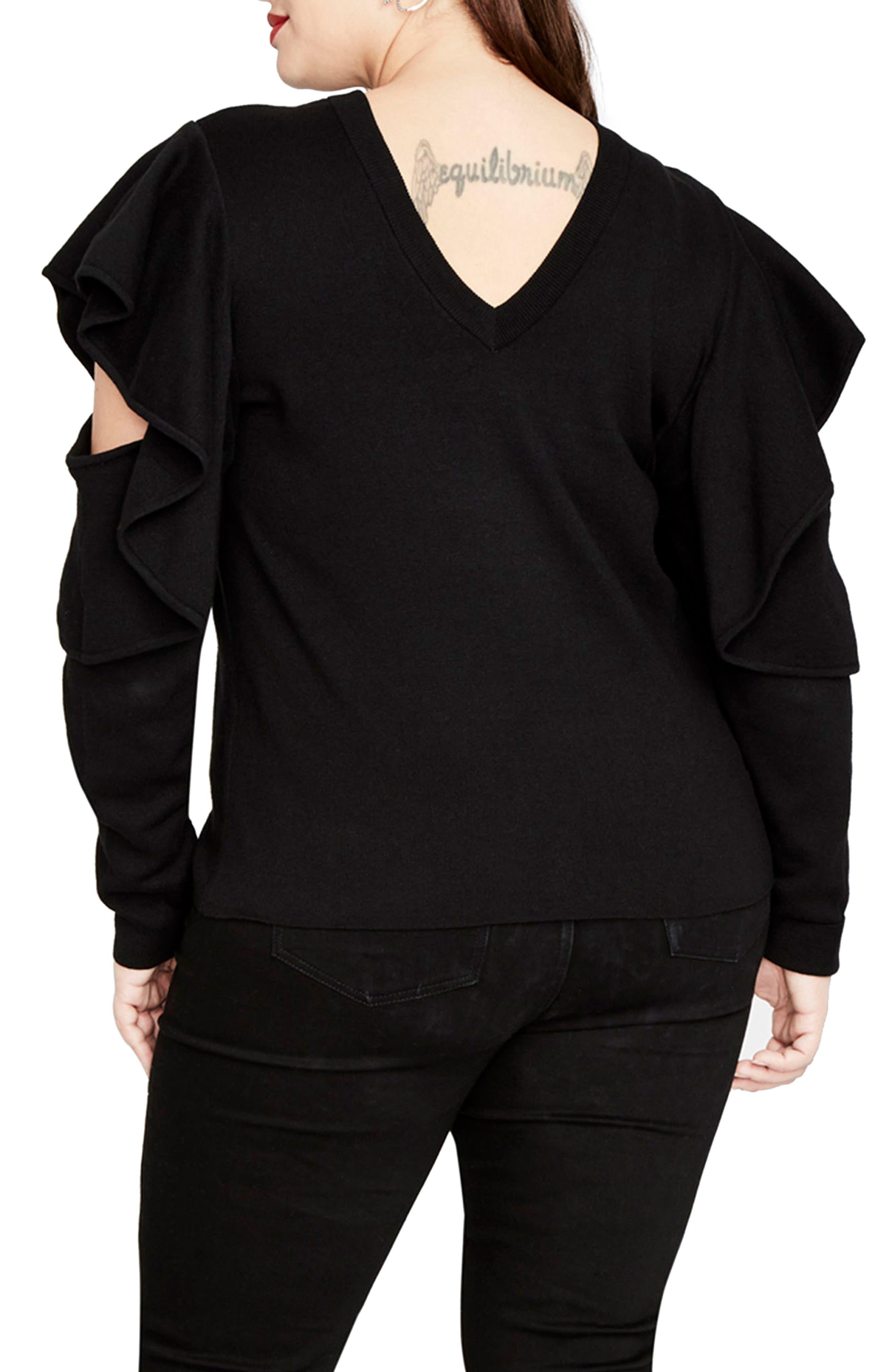 Ruffle Sleeve Sweater,                             Alternate thumbnail 2, color,                             001