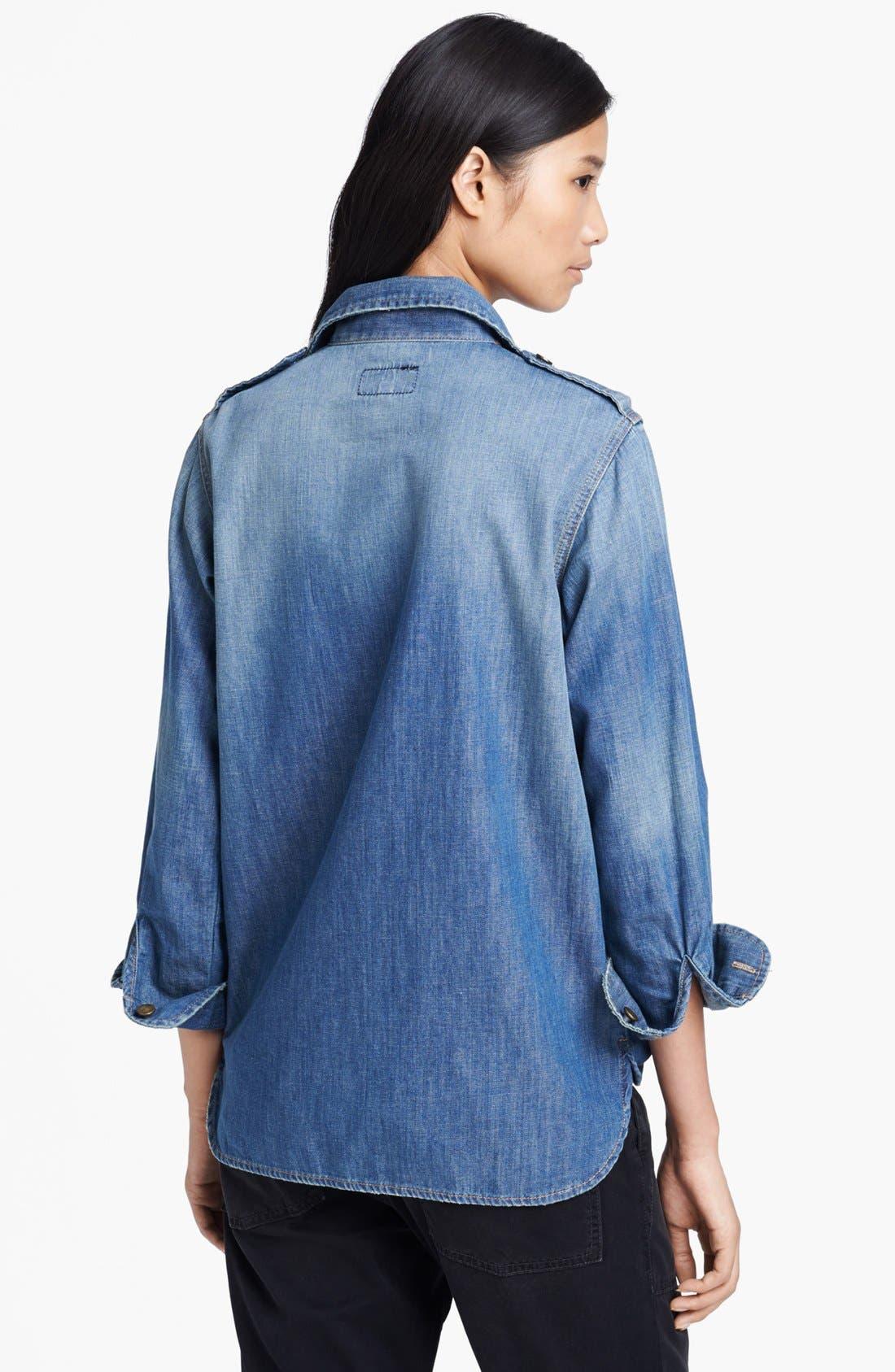 'The Perfect' Button Front Denim Shirt,                             Alternate thumbnail 5, color,                             450