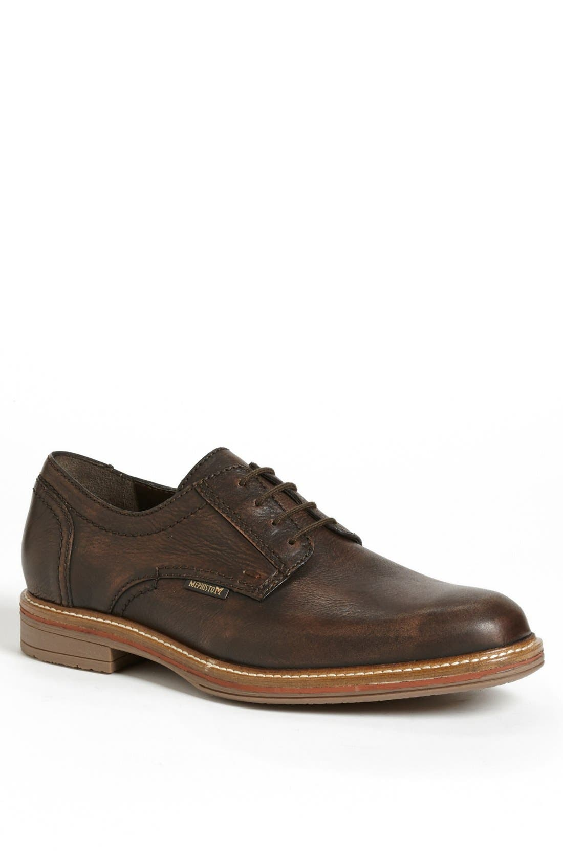'Waino' Plain Toe Derby,                             Main thumbnail 1, color,                             BROWN DISTRESSED LEATHER
