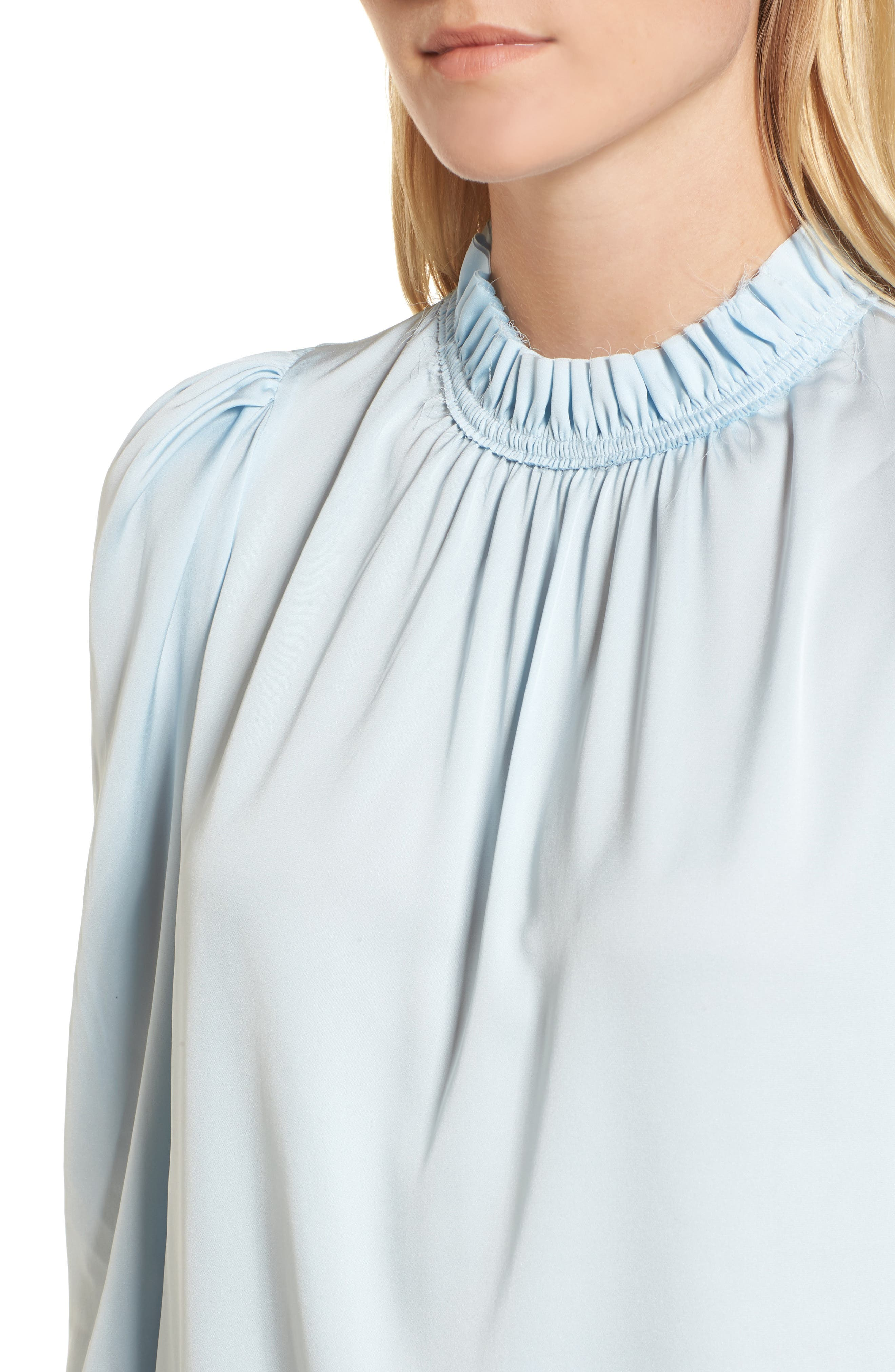 Ruffle Neck Stretch Silk Top,                             Alternate thumbnail 7, color,