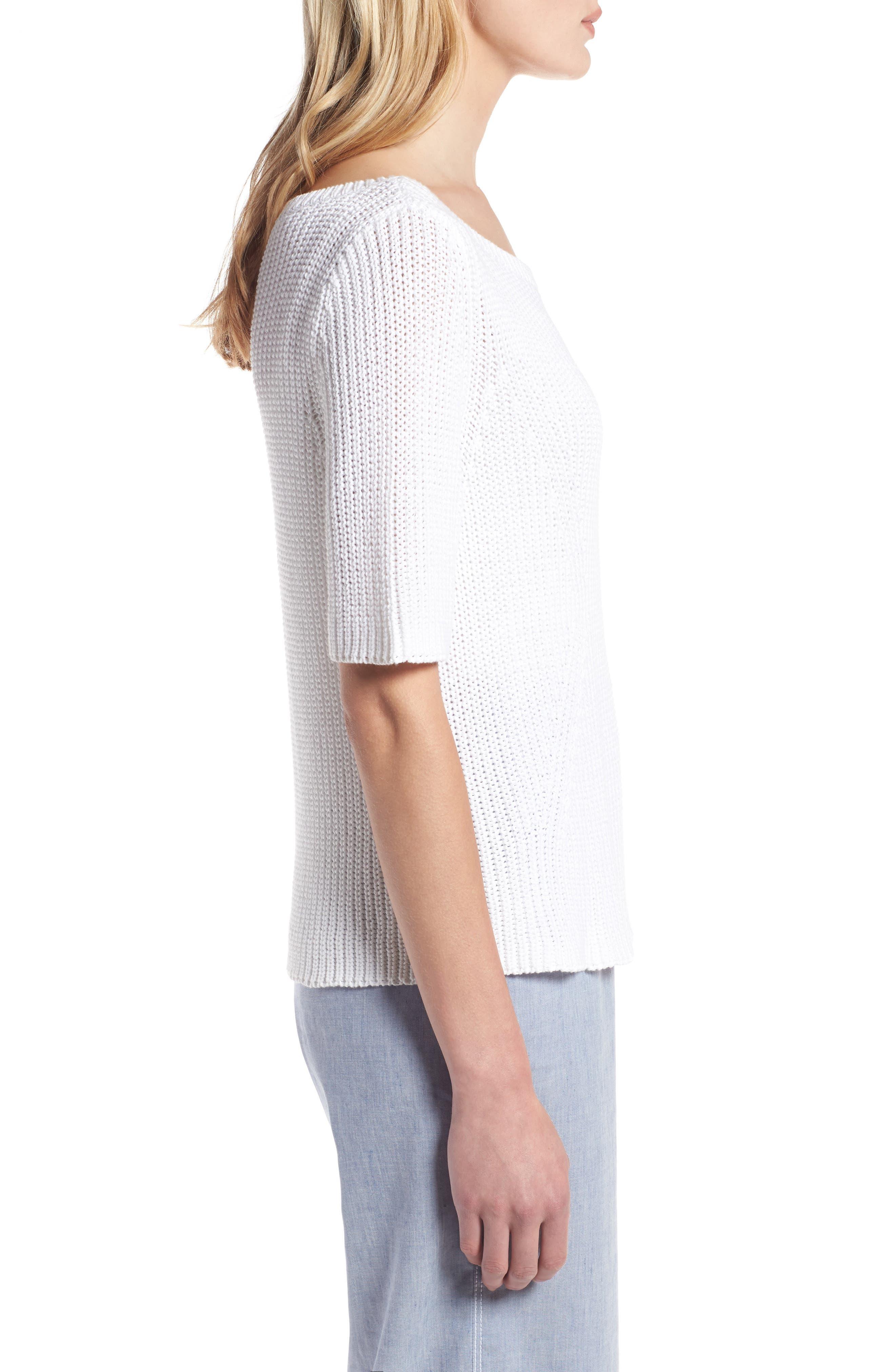 Shaker Stitch Cotton Sweater,                             Alternate thumbnail 6, color,