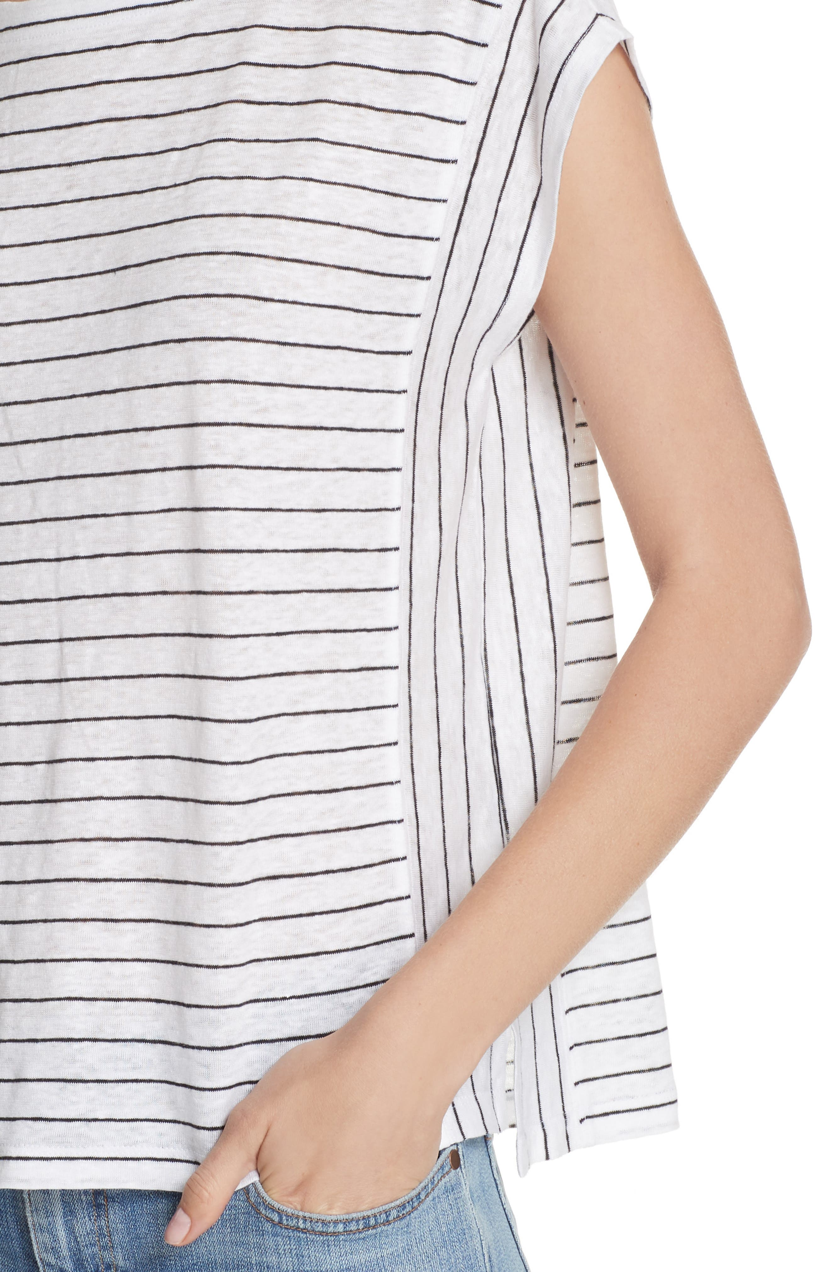 Stripe Organic Linen Top,                             Alternate thumbnail 4, color,                             120