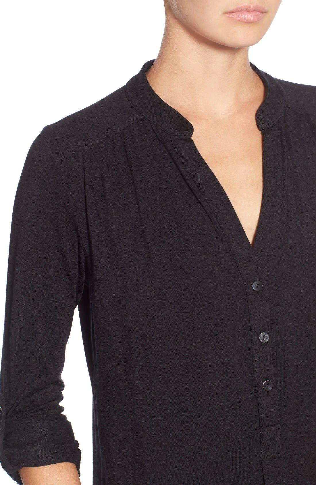 'Elena' Roll Tab Sleeve Top,                             Alternate thumbnail 4, color,                             BLACK