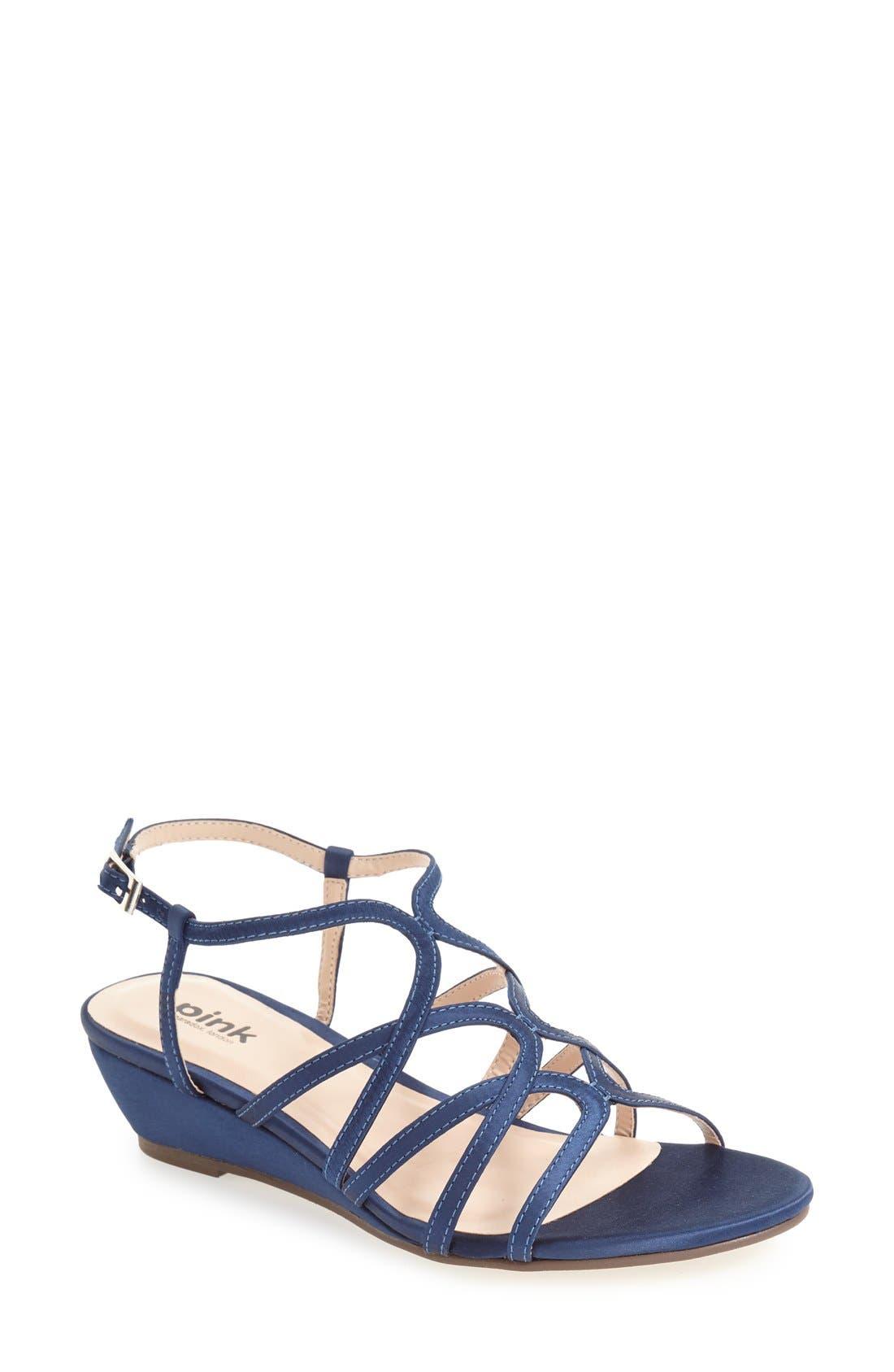 'Opulent' Wedge Sandal,                         Main,                         color, NAVY
