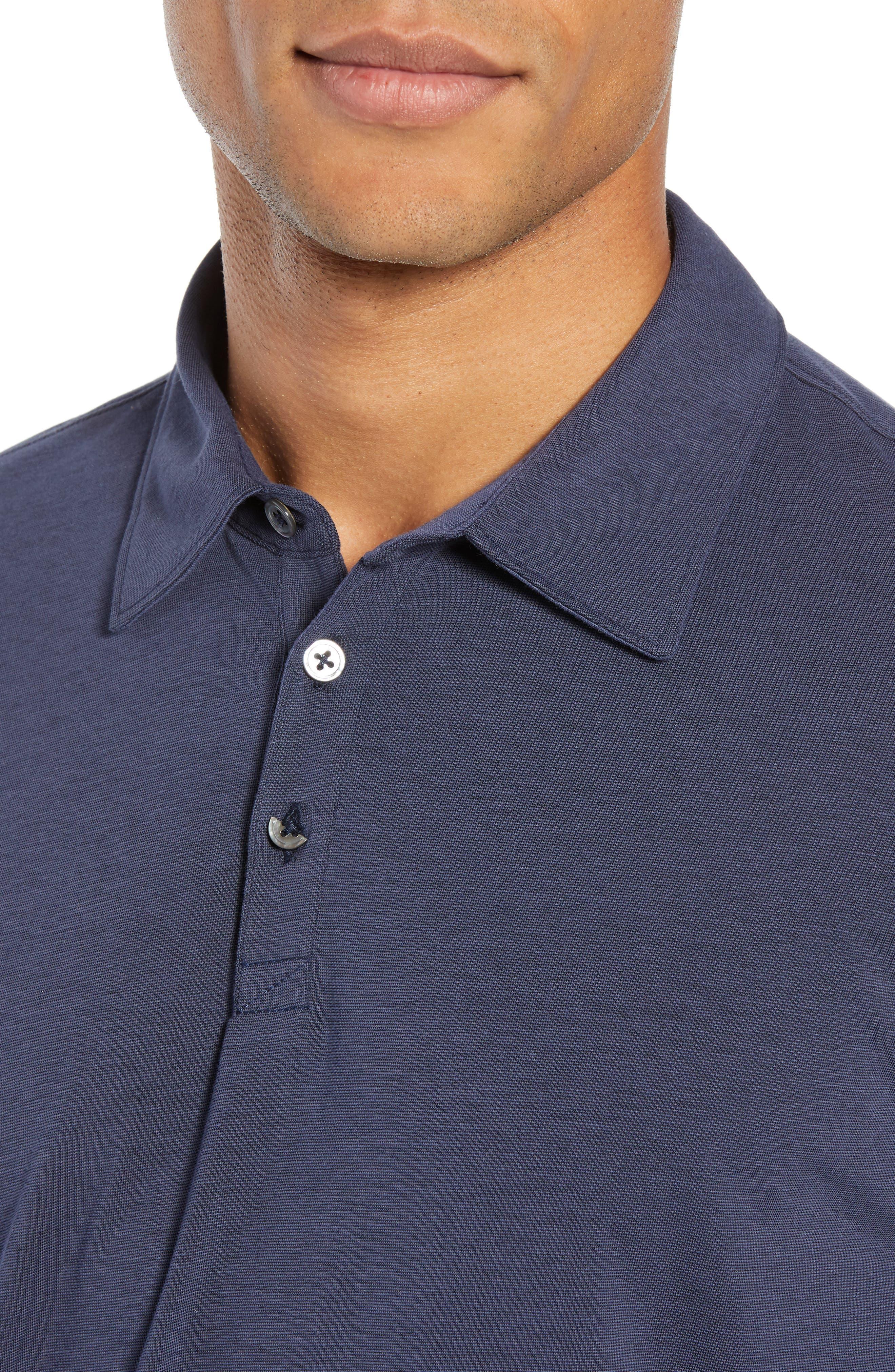 Benton Long Sleeve Polo,                             Alternate thumbnail 4, color,                             MIDNIGHT