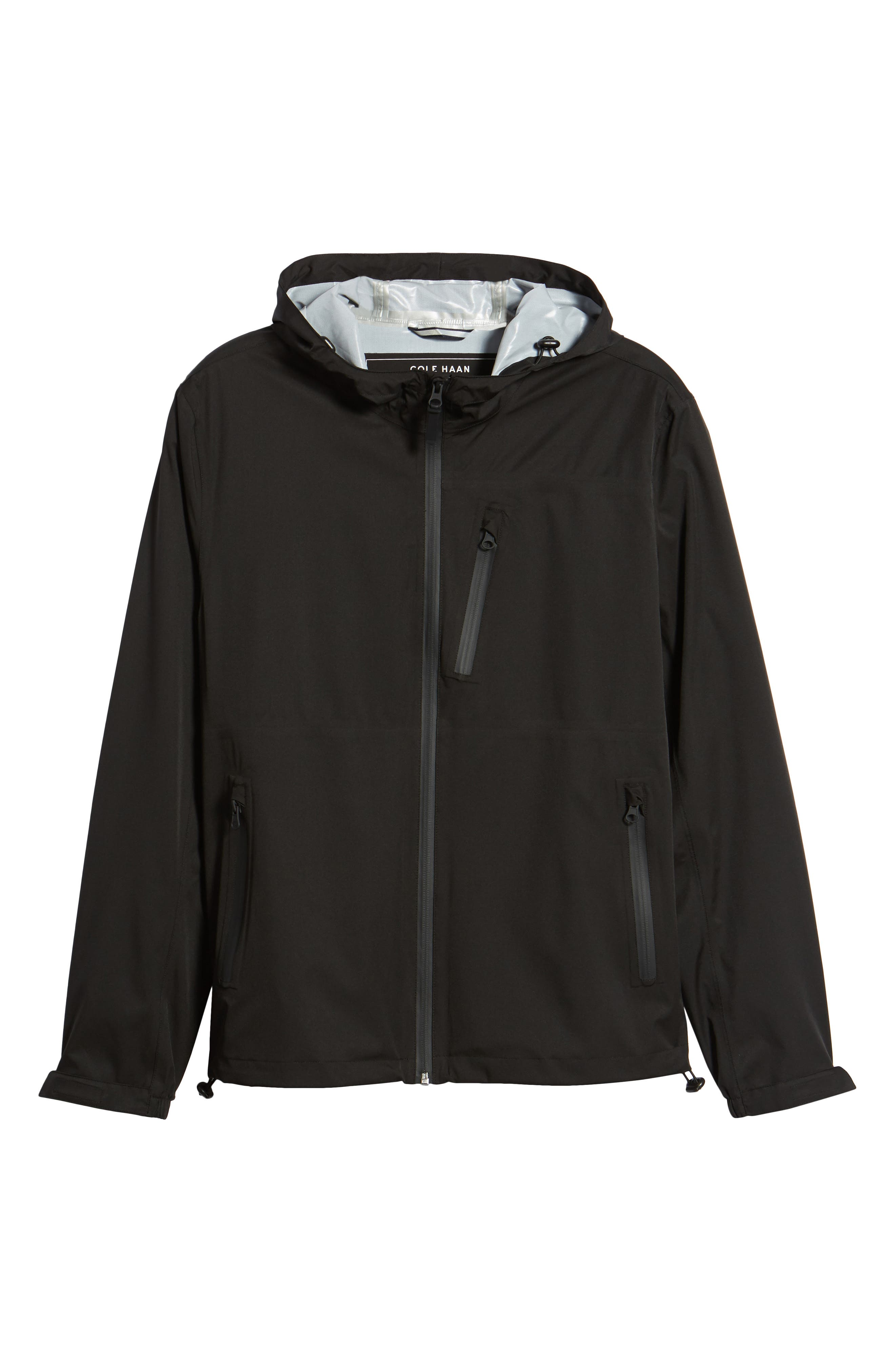 Packable Water Resistant Jacket,                             Alternate thumbnail 5, color,                             BLACK
