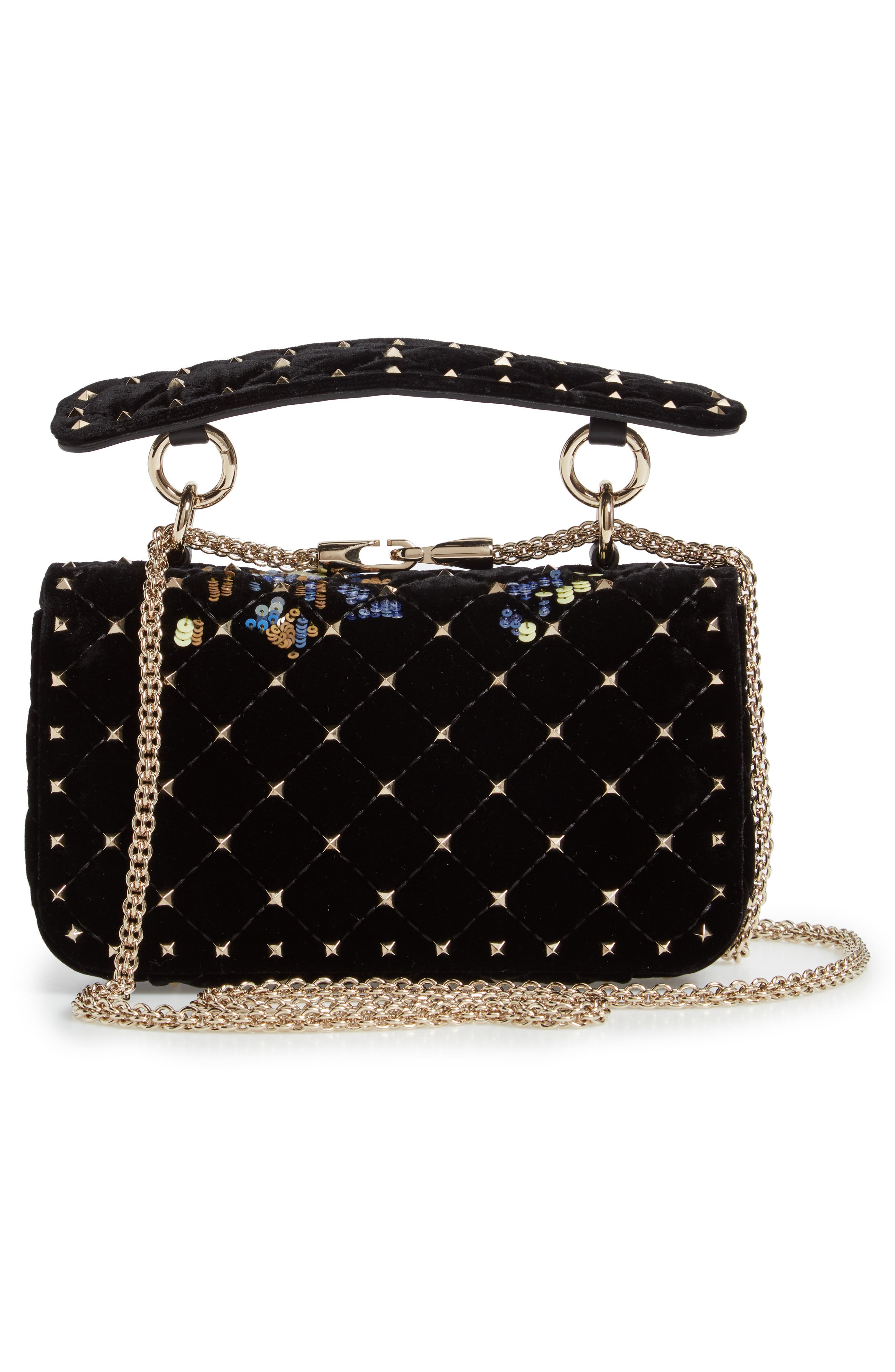 Small Spike.It Floral Sequin Bag,                             Alternate thumbnail 3, color,                             NERO