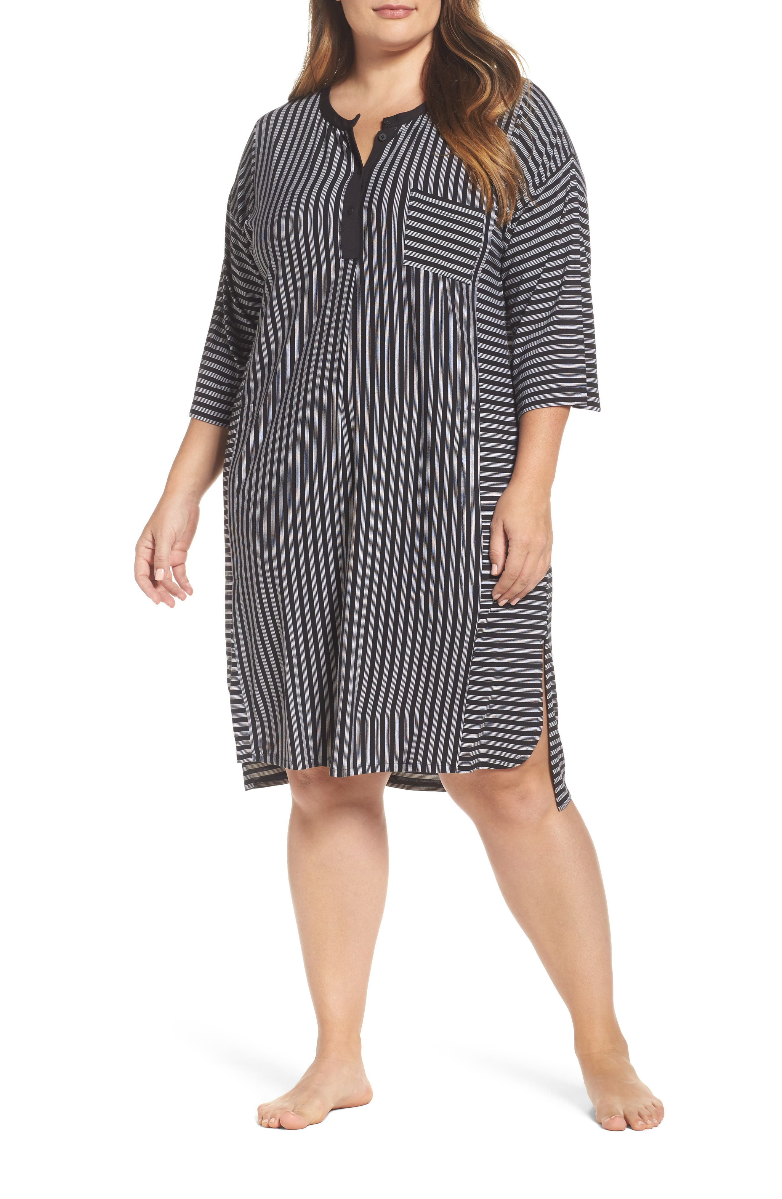 Stripe Sleepshirt,                             Main thumbnail 1, color,                             001