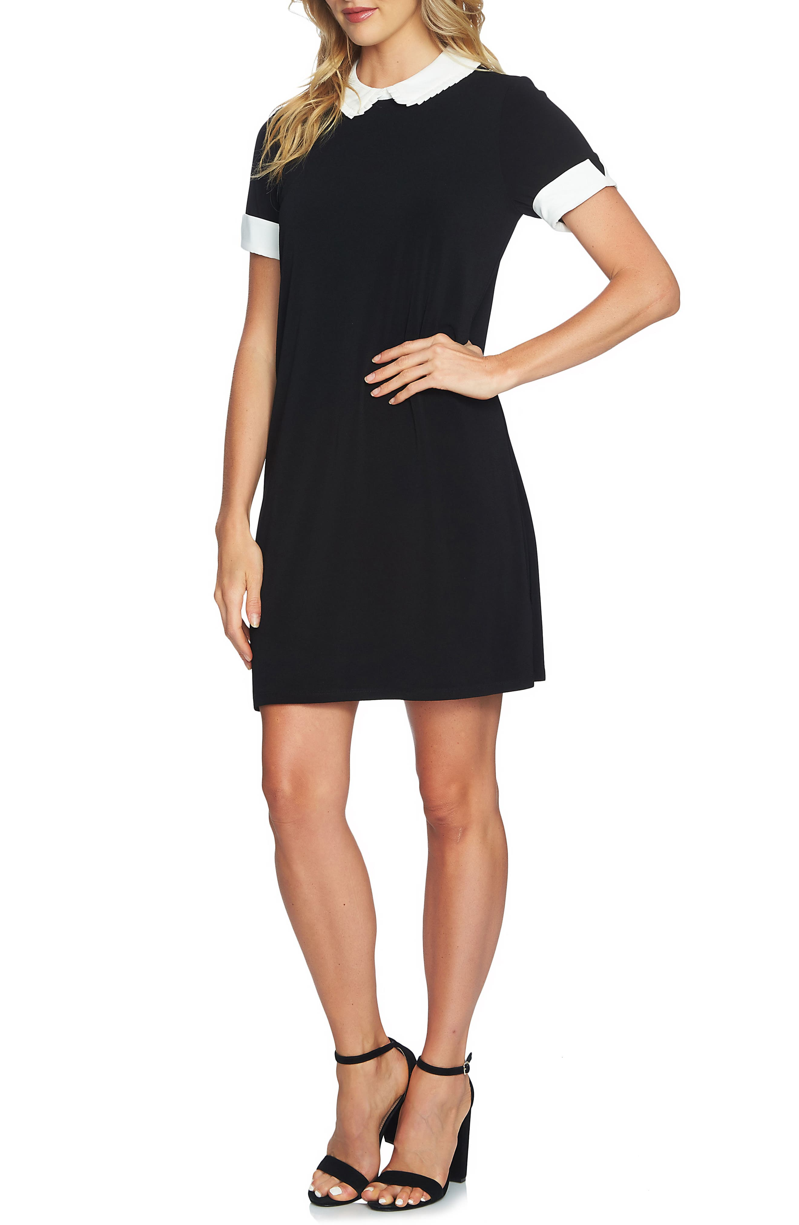 Pleated Collar Shift Dress,                             Main thumbnail 1, color,                             001