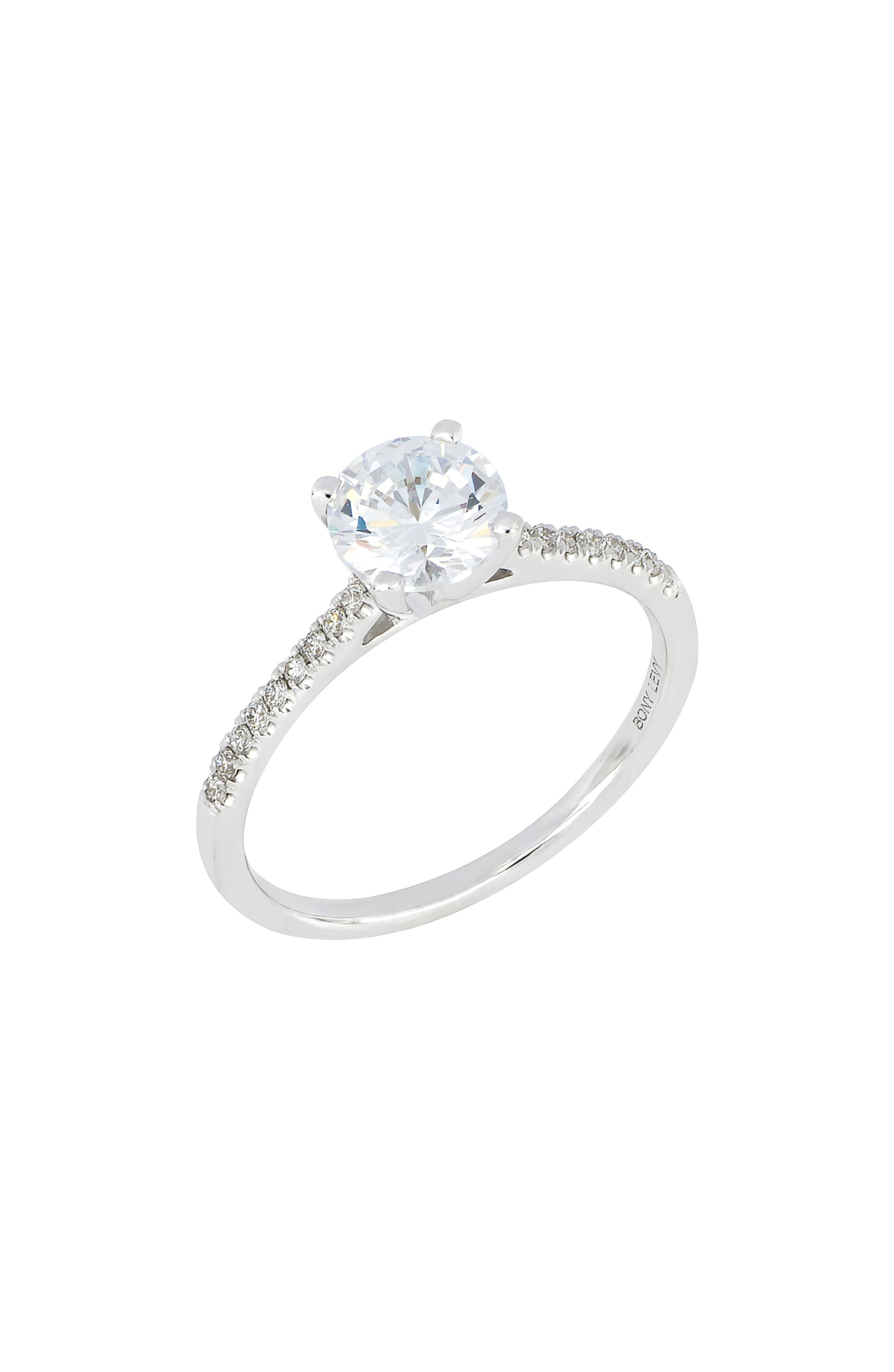 Pavé Diamond Round Engagement Ring Setting,                             Main thumbnail 1, color,                             WHITE GOLD