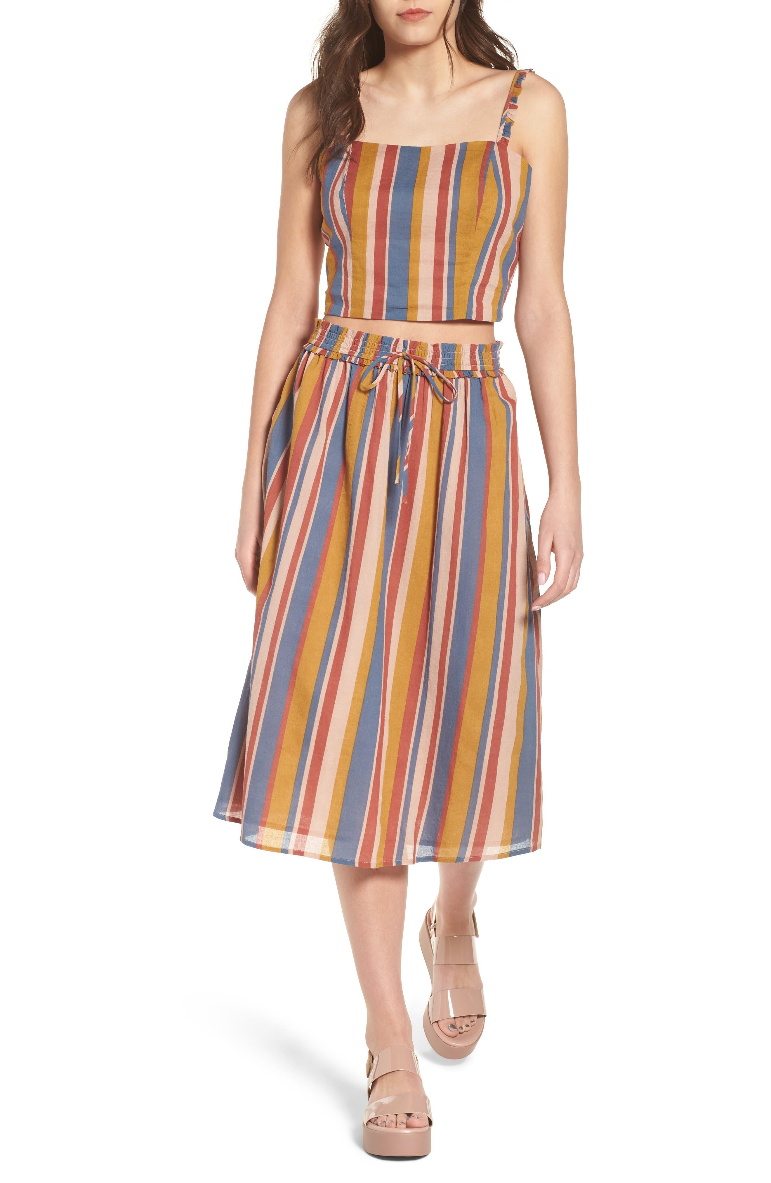 Smocked Midi Skirt,                             Alternate thumbnail 7, color,