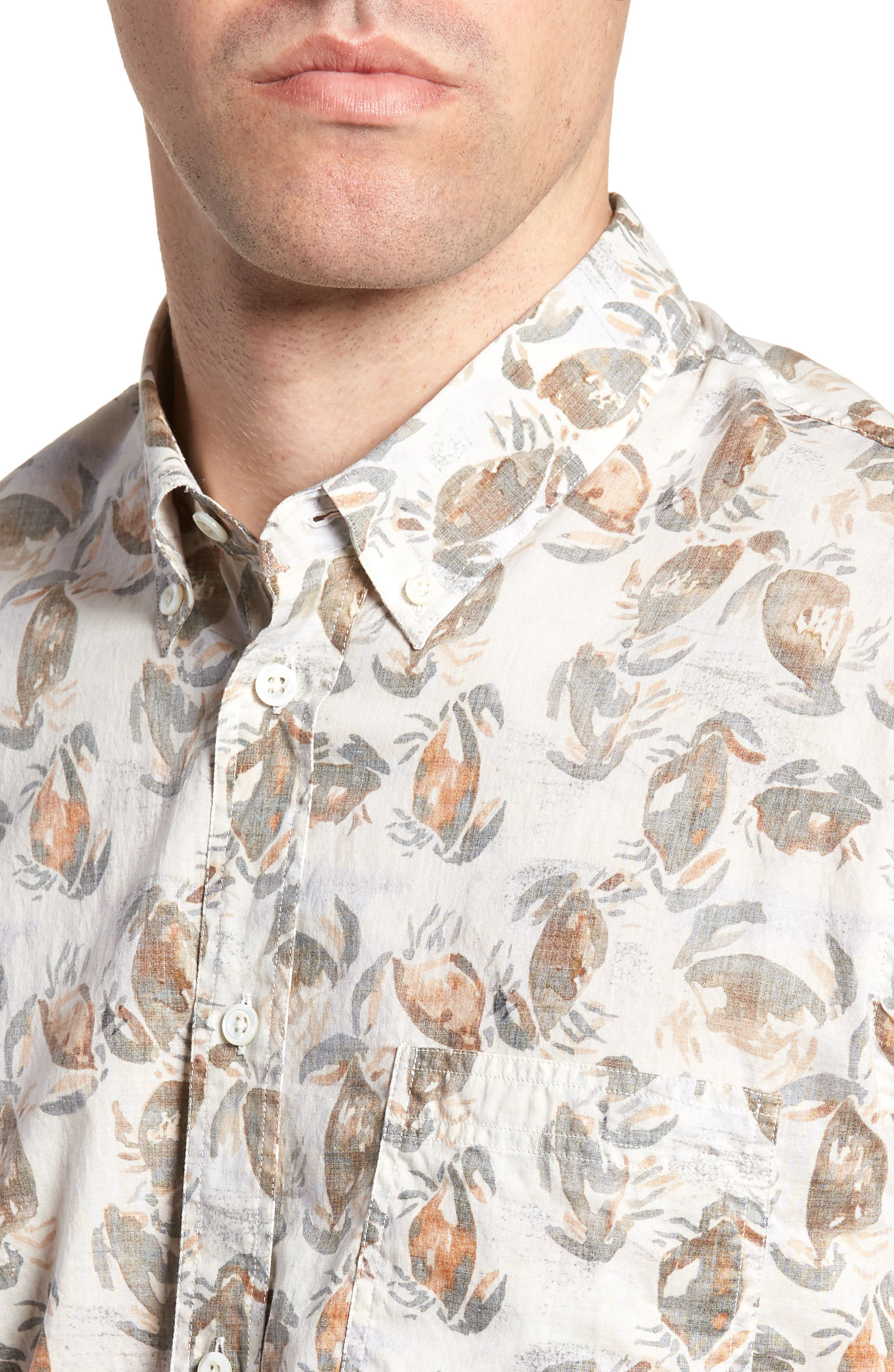 Tuscumbia Standard Fit Short Sleeve Sport Shirt,                             Alternate thumbnail 4, color,                             CREAM CRAB