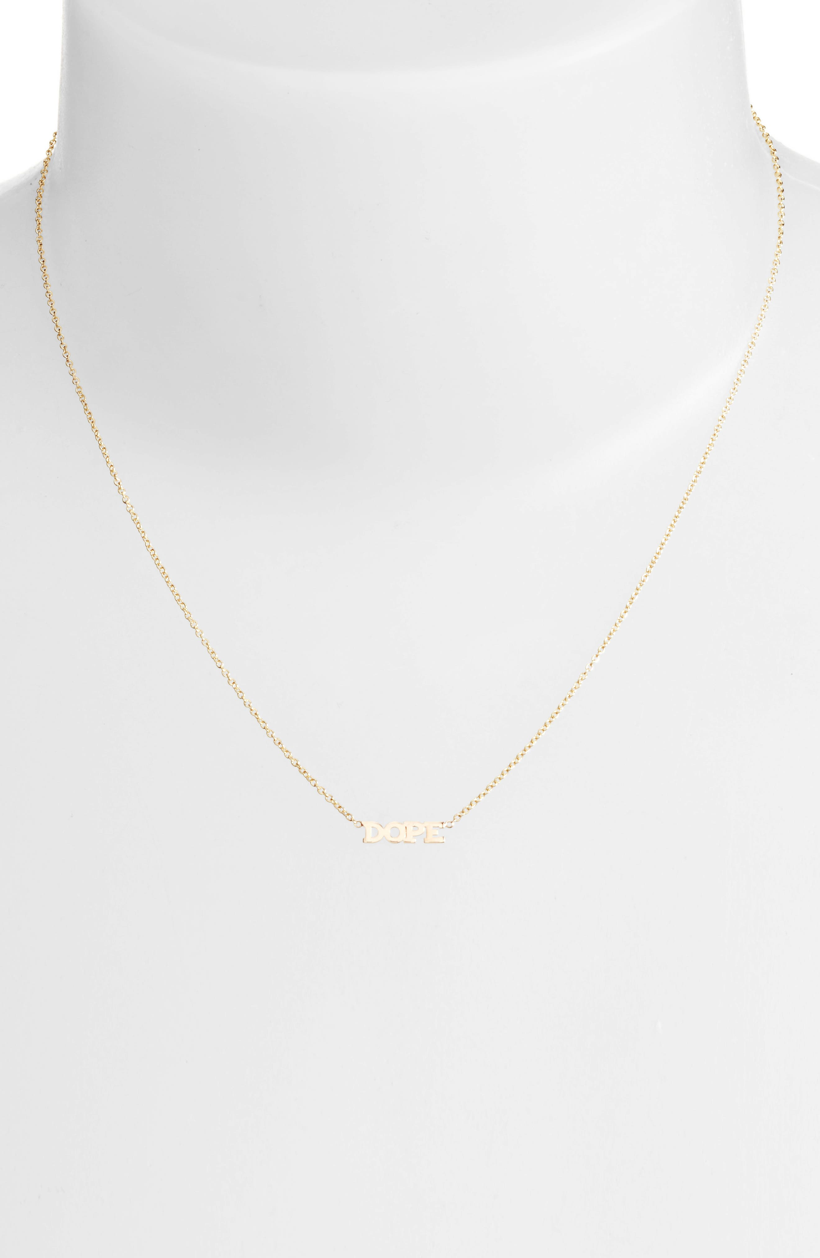 Itty Bitty Dope Pendant Necklace,                             Alternate thumbnail 2, color,                             YELLOW GOLD
