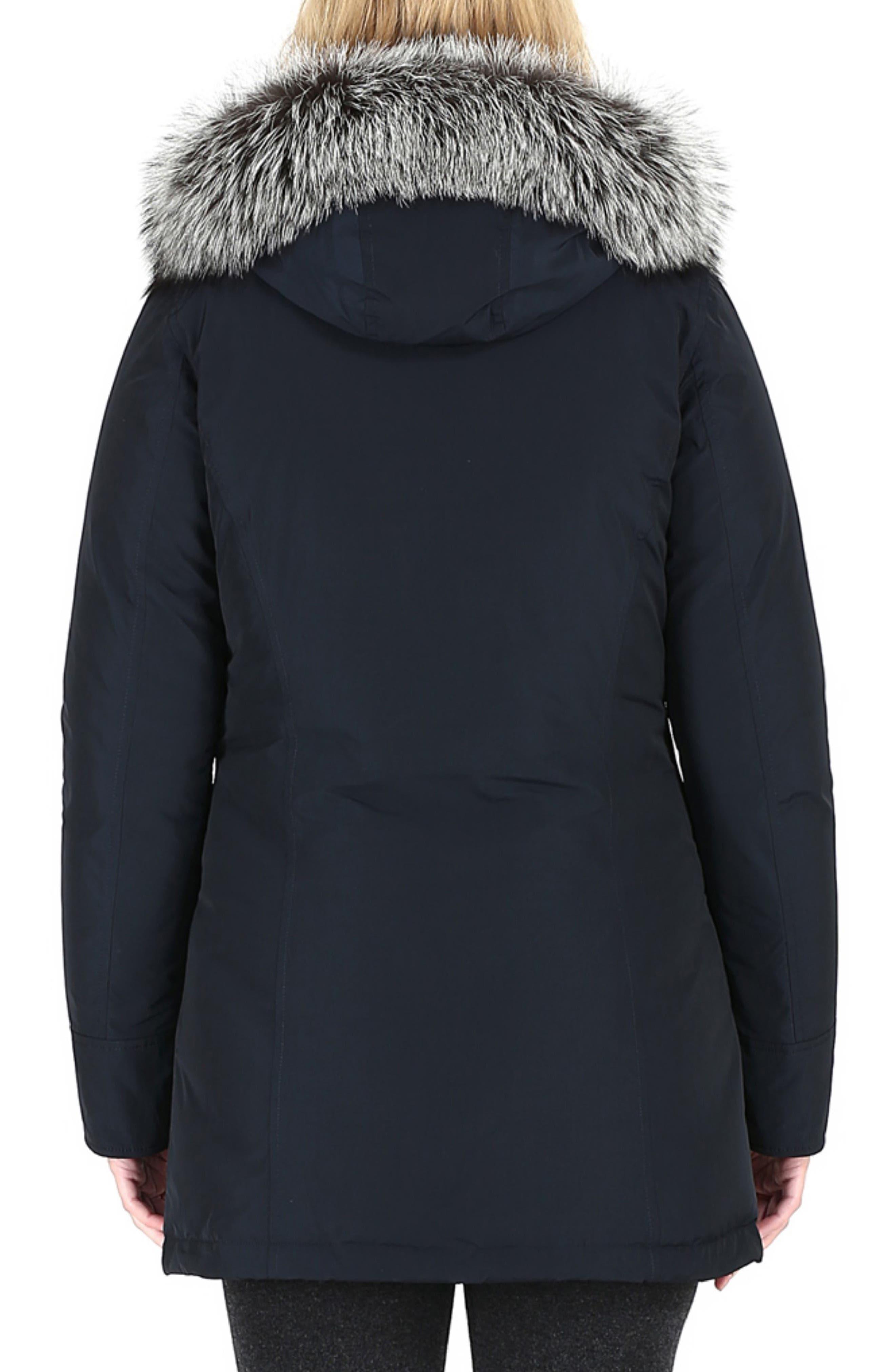 Luxury Arctic Down Parka with Genuine Fox Fur Trim,                             Alternate thumbnail 2, color,                             MIDNIGHT BLUE