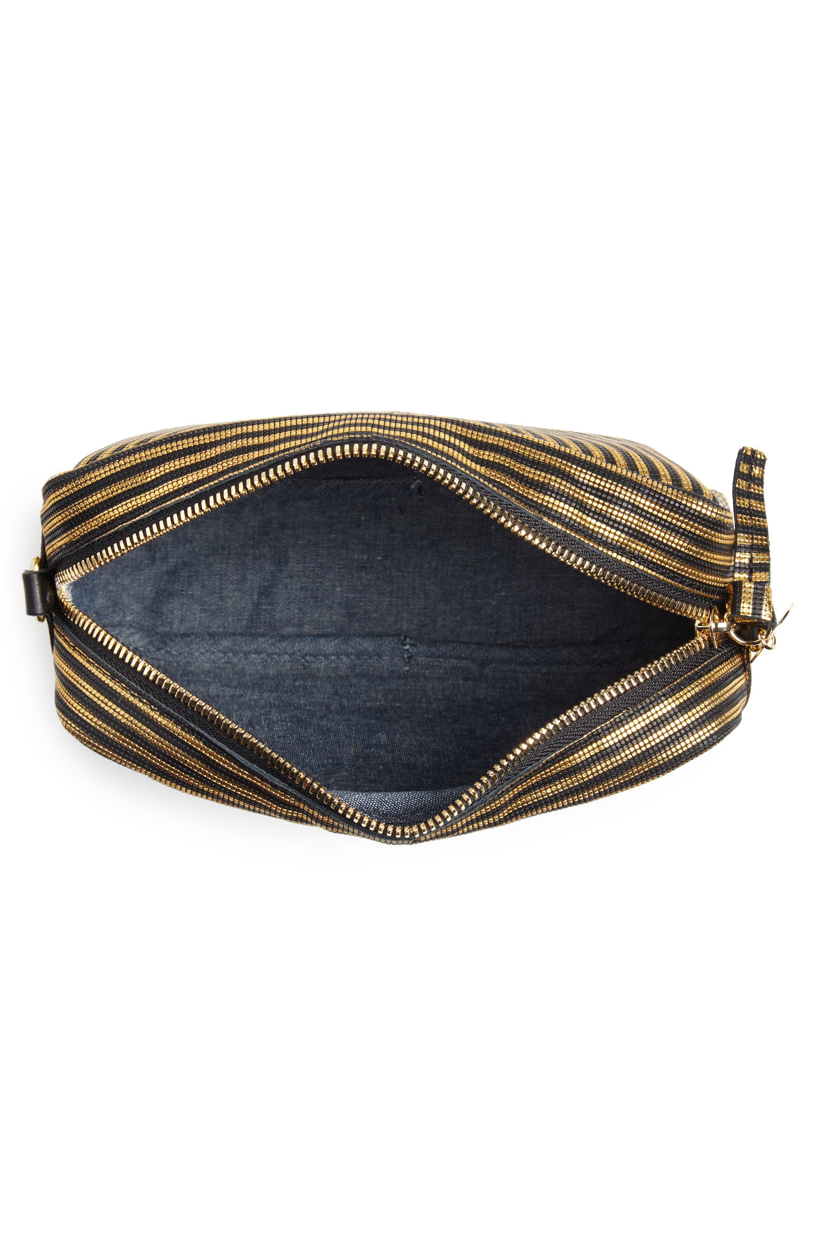 Midi Sac Disco Stripe Leather Crossbody Bag,                             Alternate thumbnail 4, color,                             DISCO STRIPE