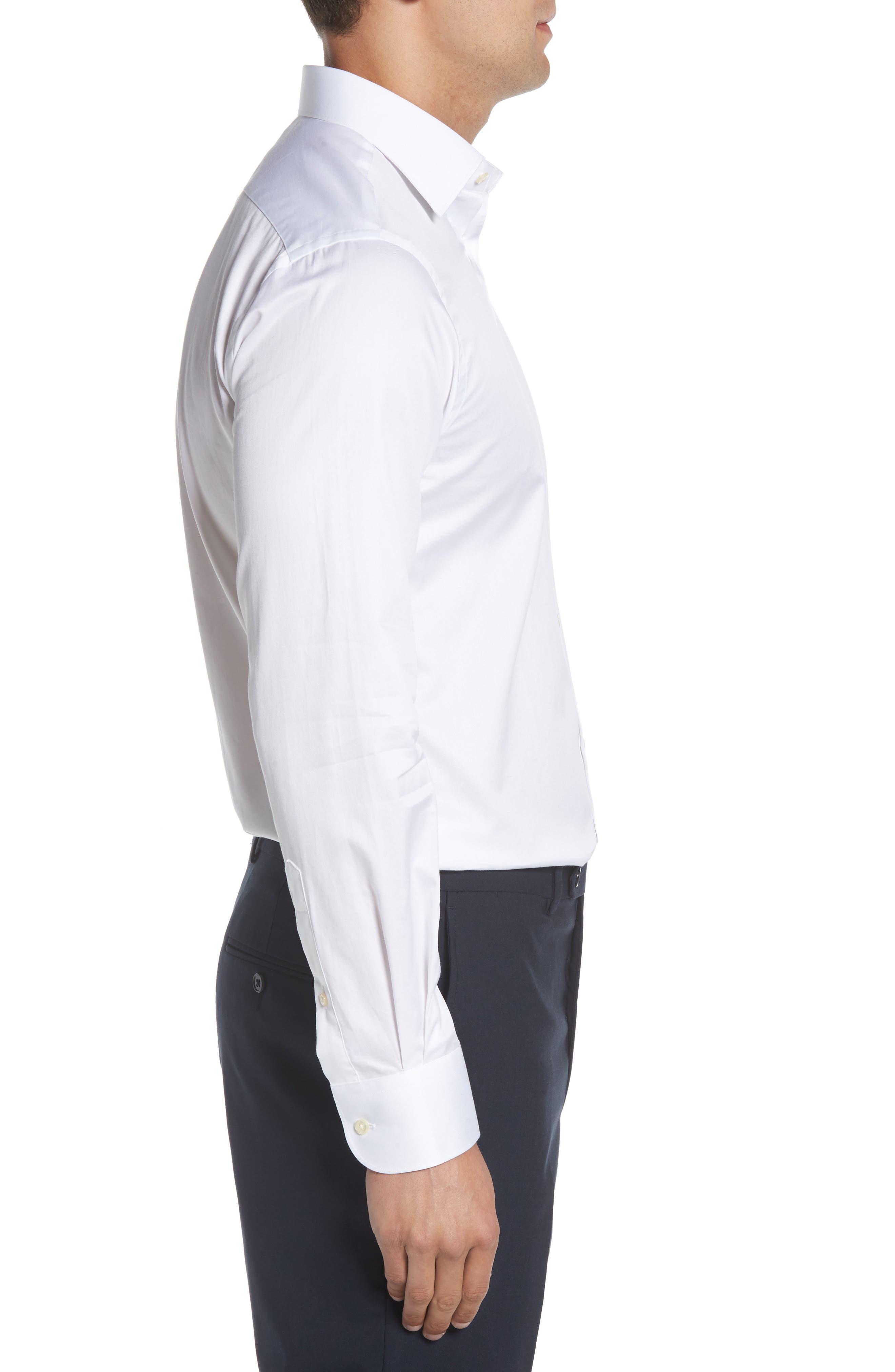 Regular Fit Solid Dress Shirt,                             Alternate thumbnail 4, color,                             100