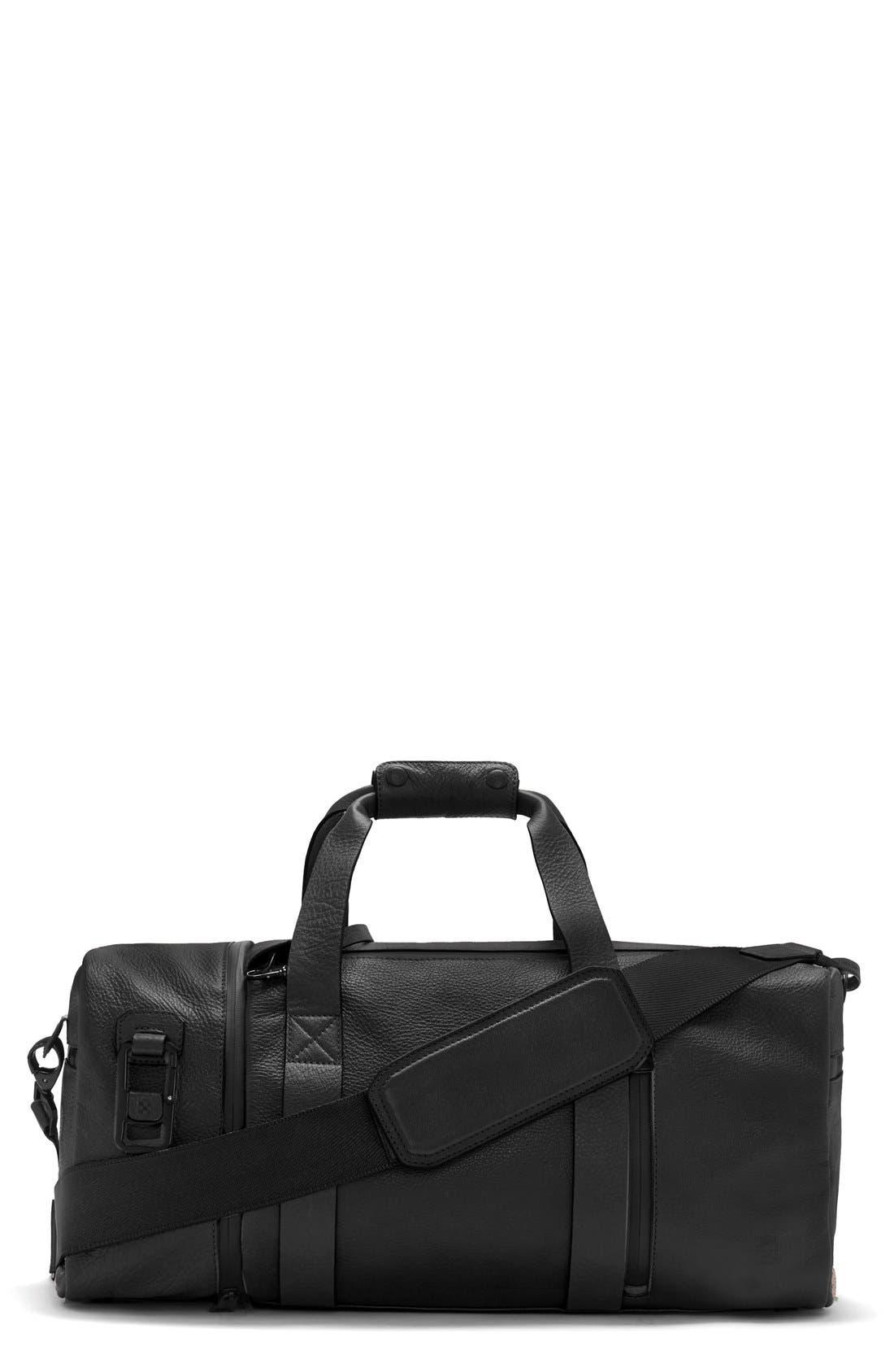 'Mestr' Leather & Suede Duffel Bag,                             Main thumbnail 1, color,                             001