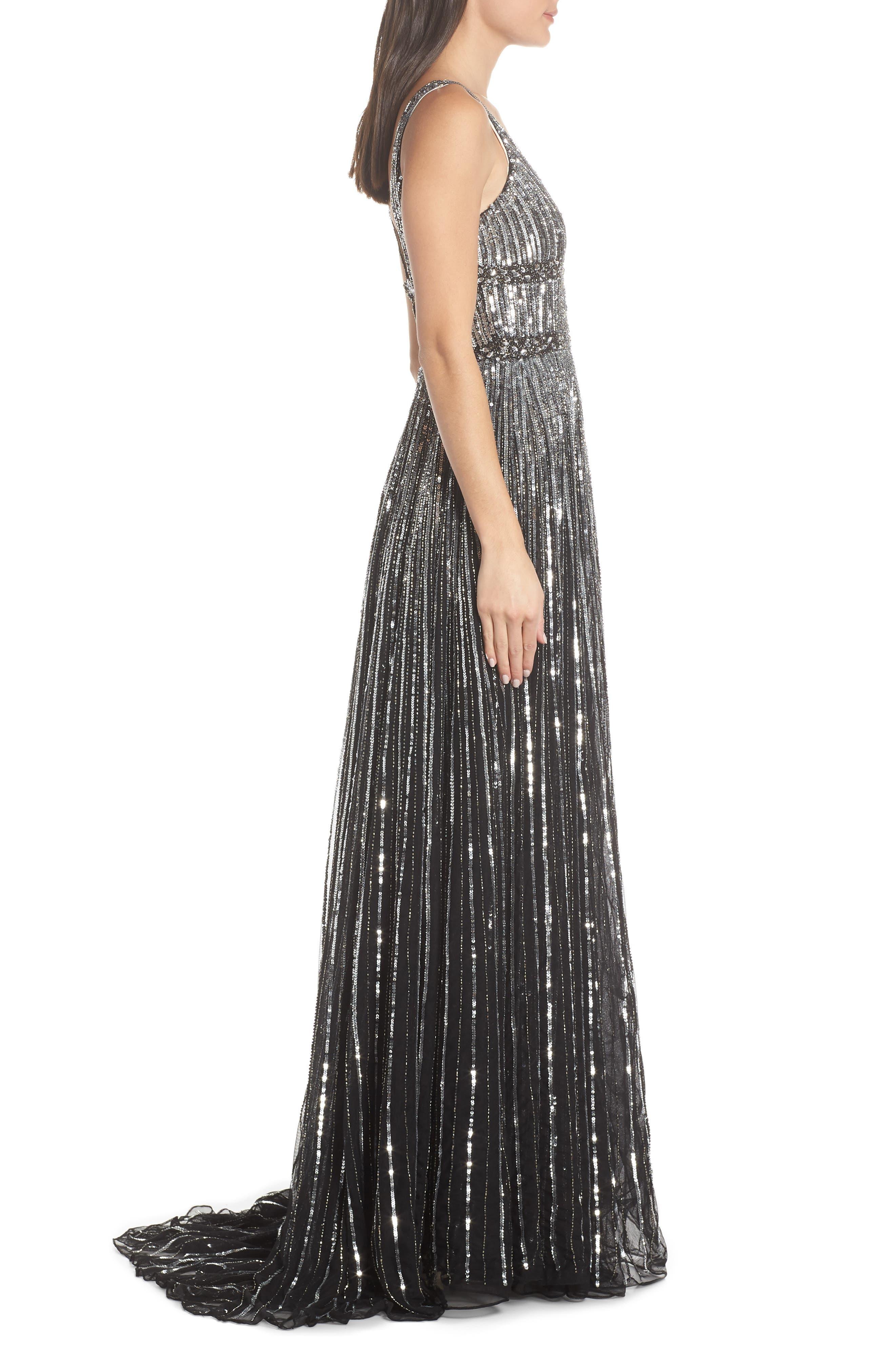 Deep V-Neck Sequin Stripe Gown,                             Alternate thumbnail 3, color,                             BLACK SILVER