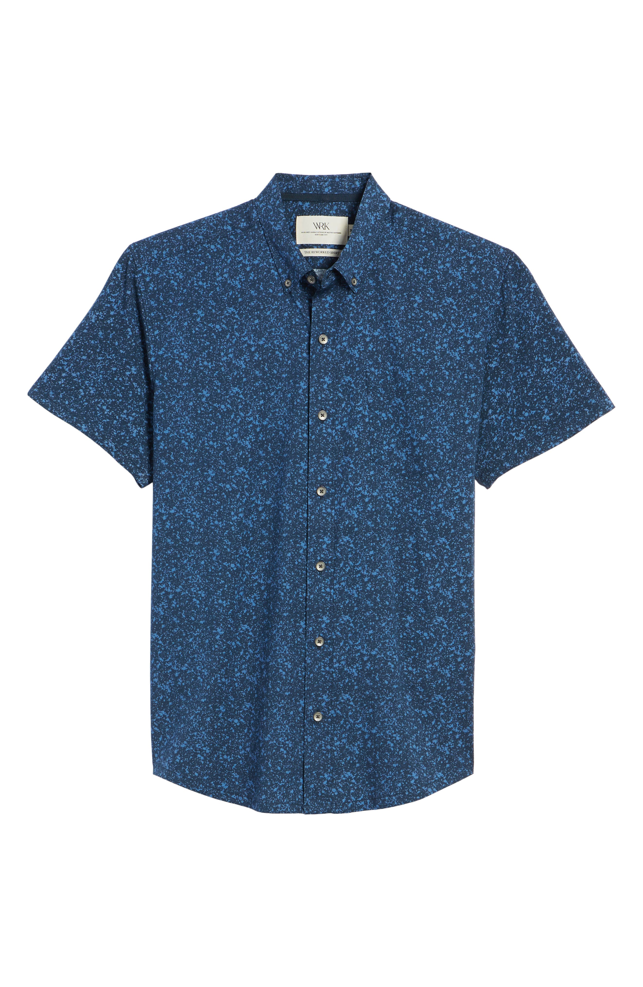 Slim Fit Splatter Sport Shirt,                             Alternate thumbnail 6, color,                             410