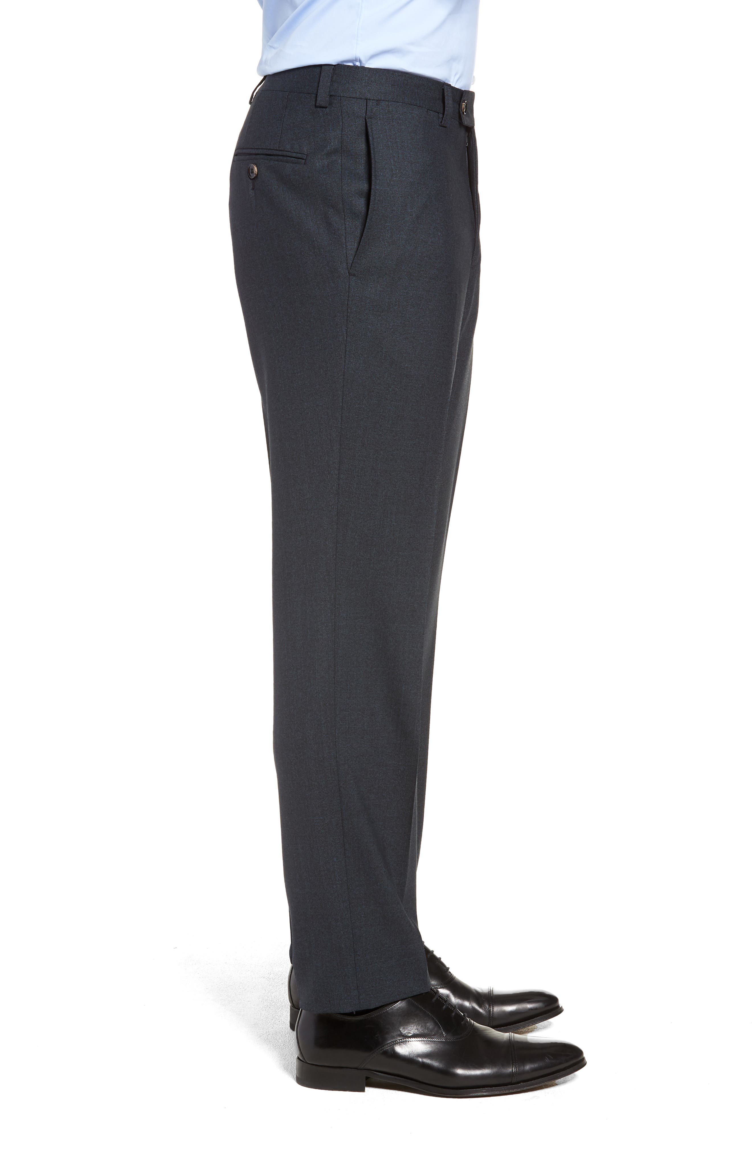 Jefferson Flat Front Solid Wool Trousers,                             Alternate thumbnail 3, color,                             BLUE