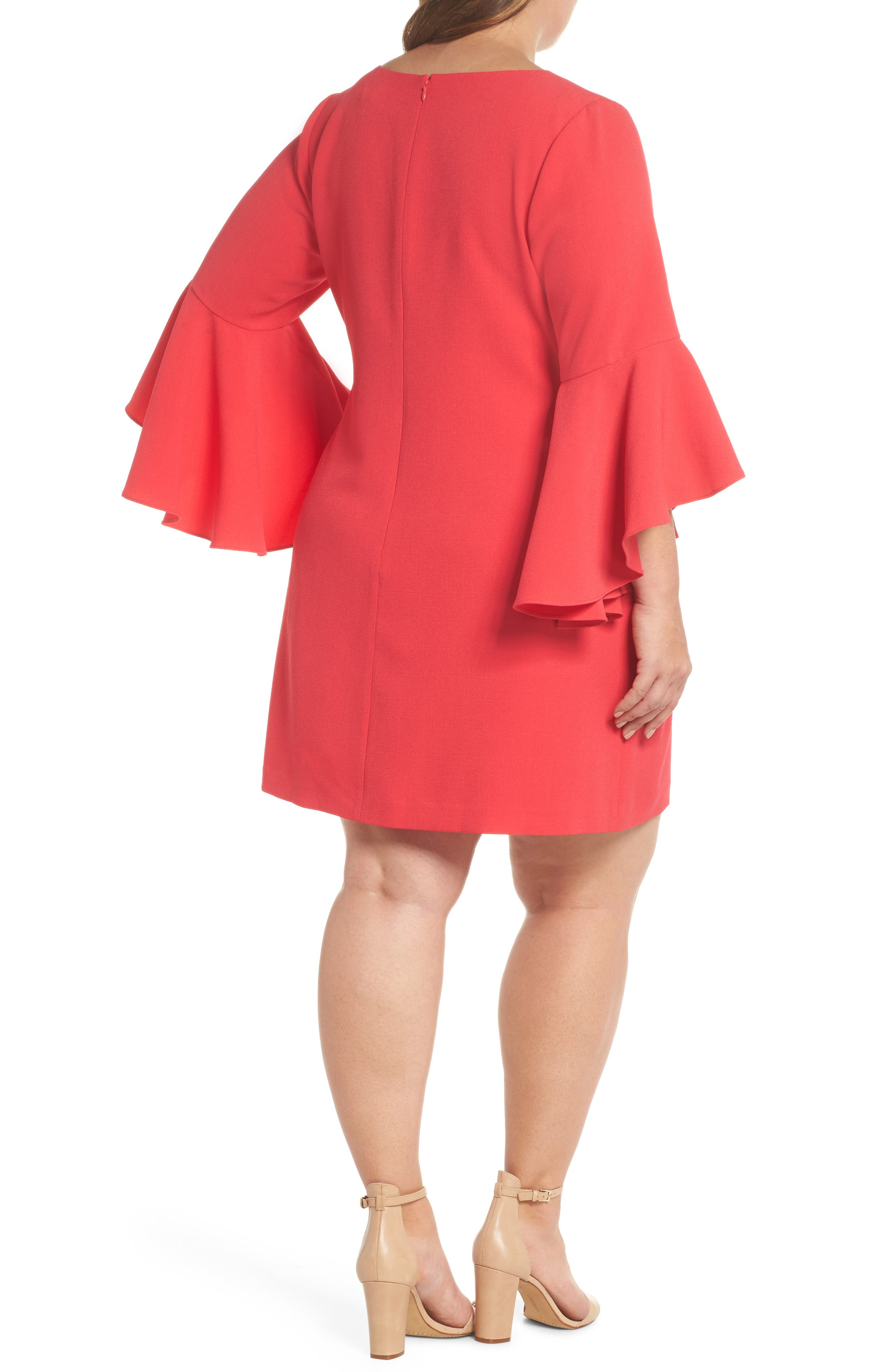 Bell Sleeve Crepe Shift Dress,                             Alternate thumbnail 3, color,