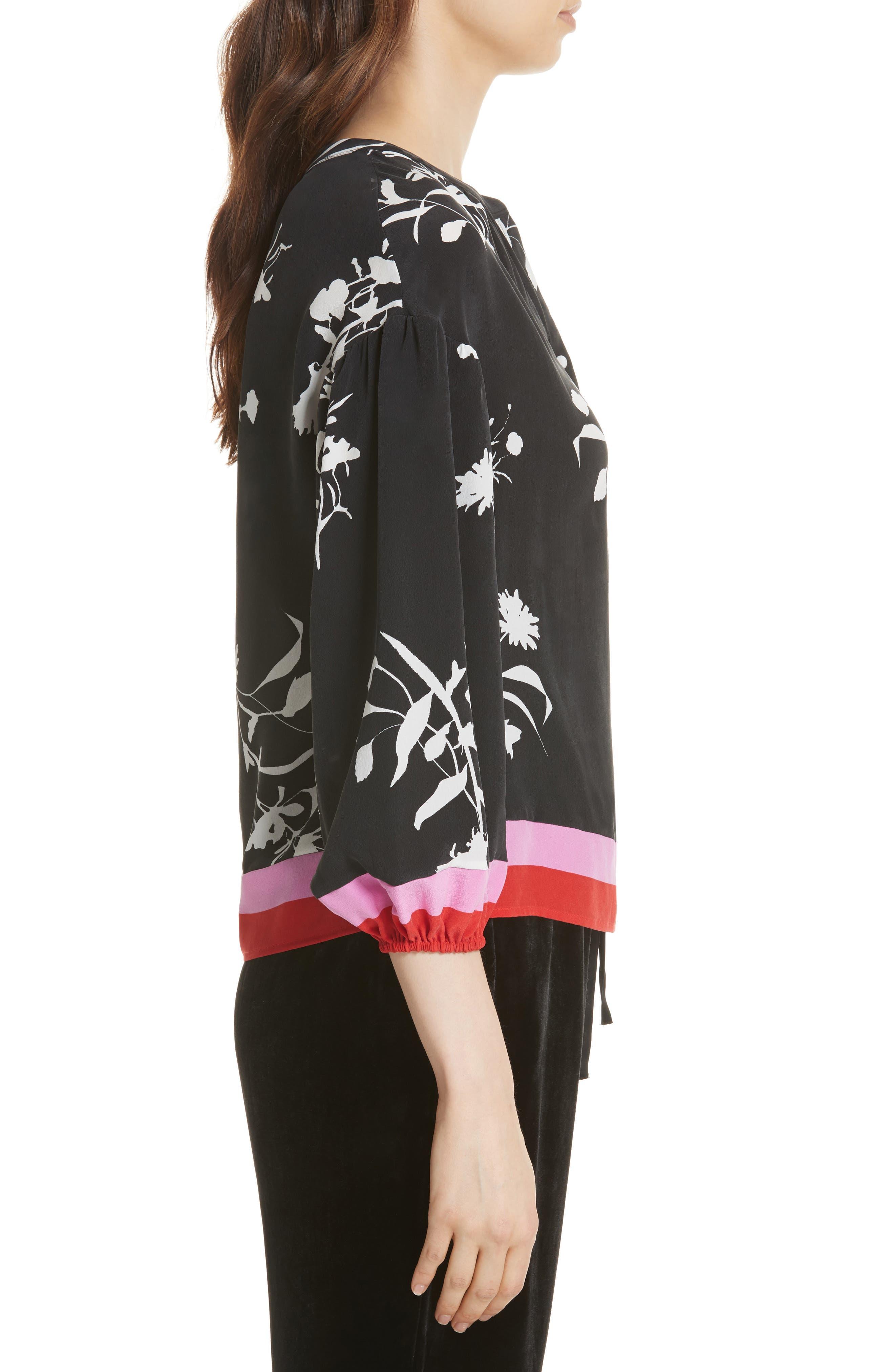 Eilga Floral Silk Blouse,                             Alternate thumbnail 3, color,