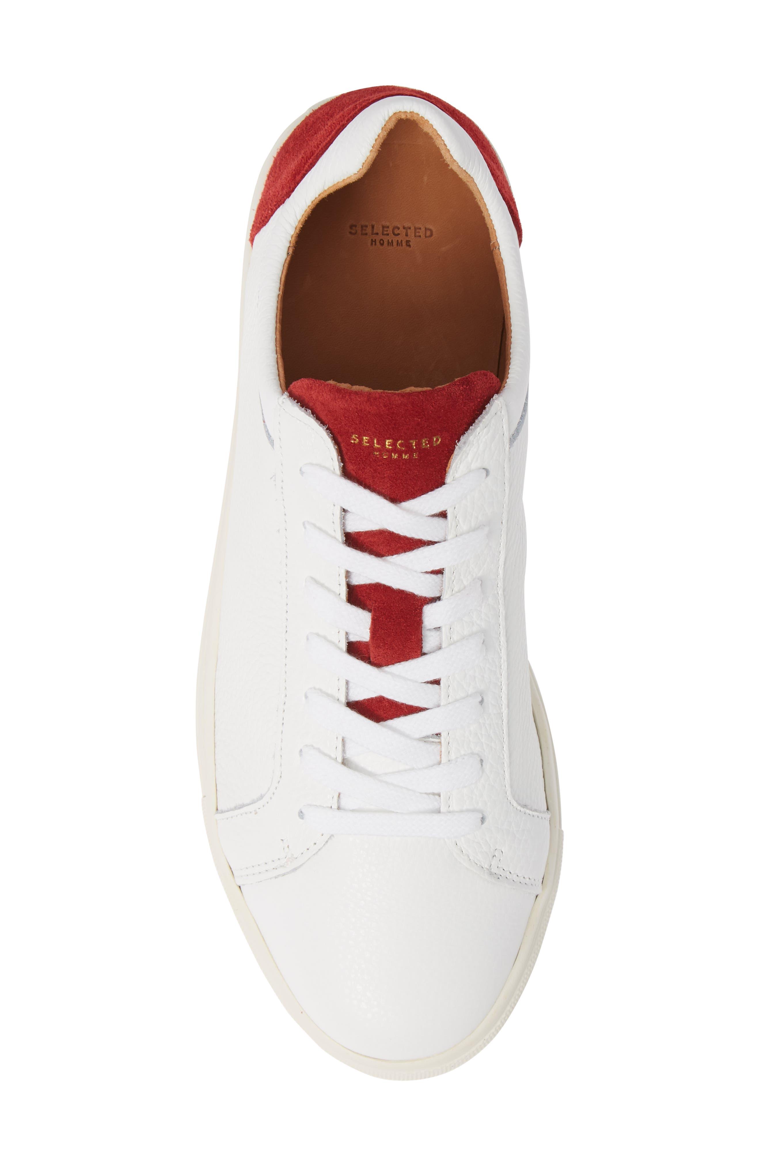 David Colorblock Sneaker,                             Alternate thumbnail 5, color,                             WHITE/ BARBADOS CHERRY
