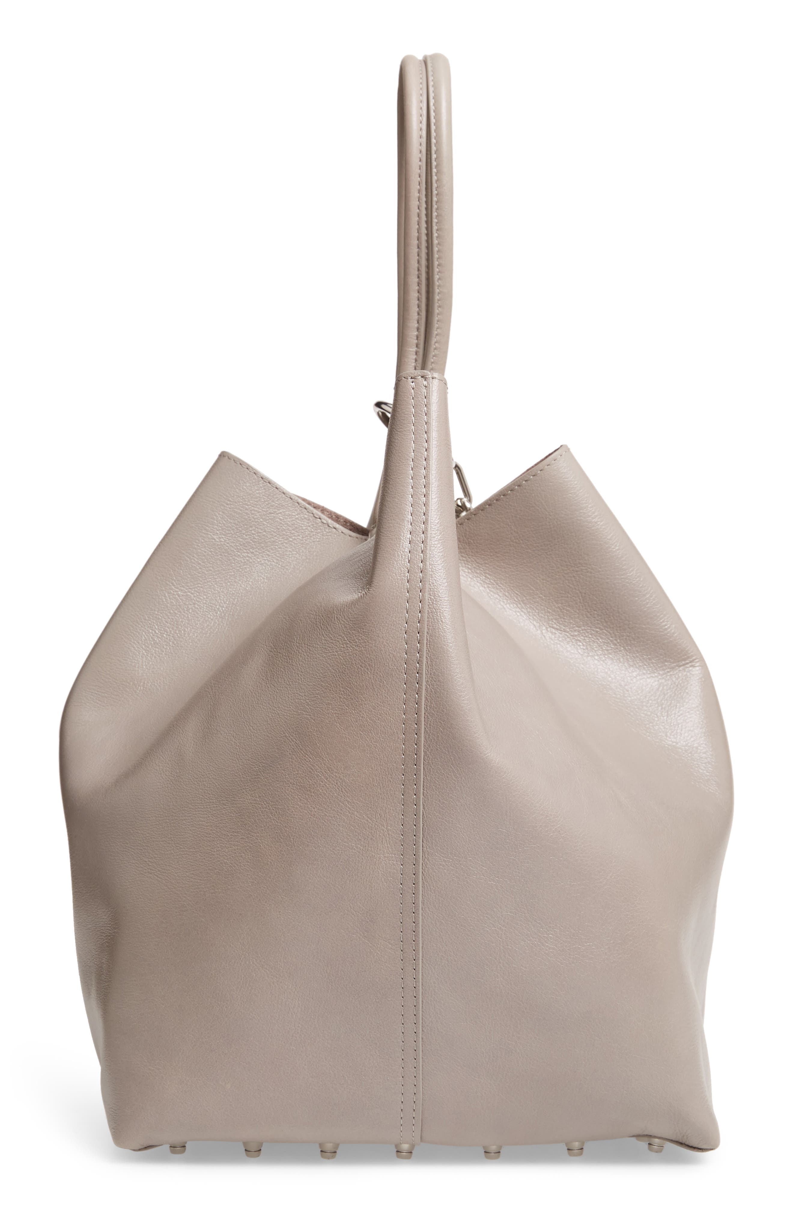 Roxy Large Leather Tote Bag,                             Alternate thumbnail 5, color,                             SLATE