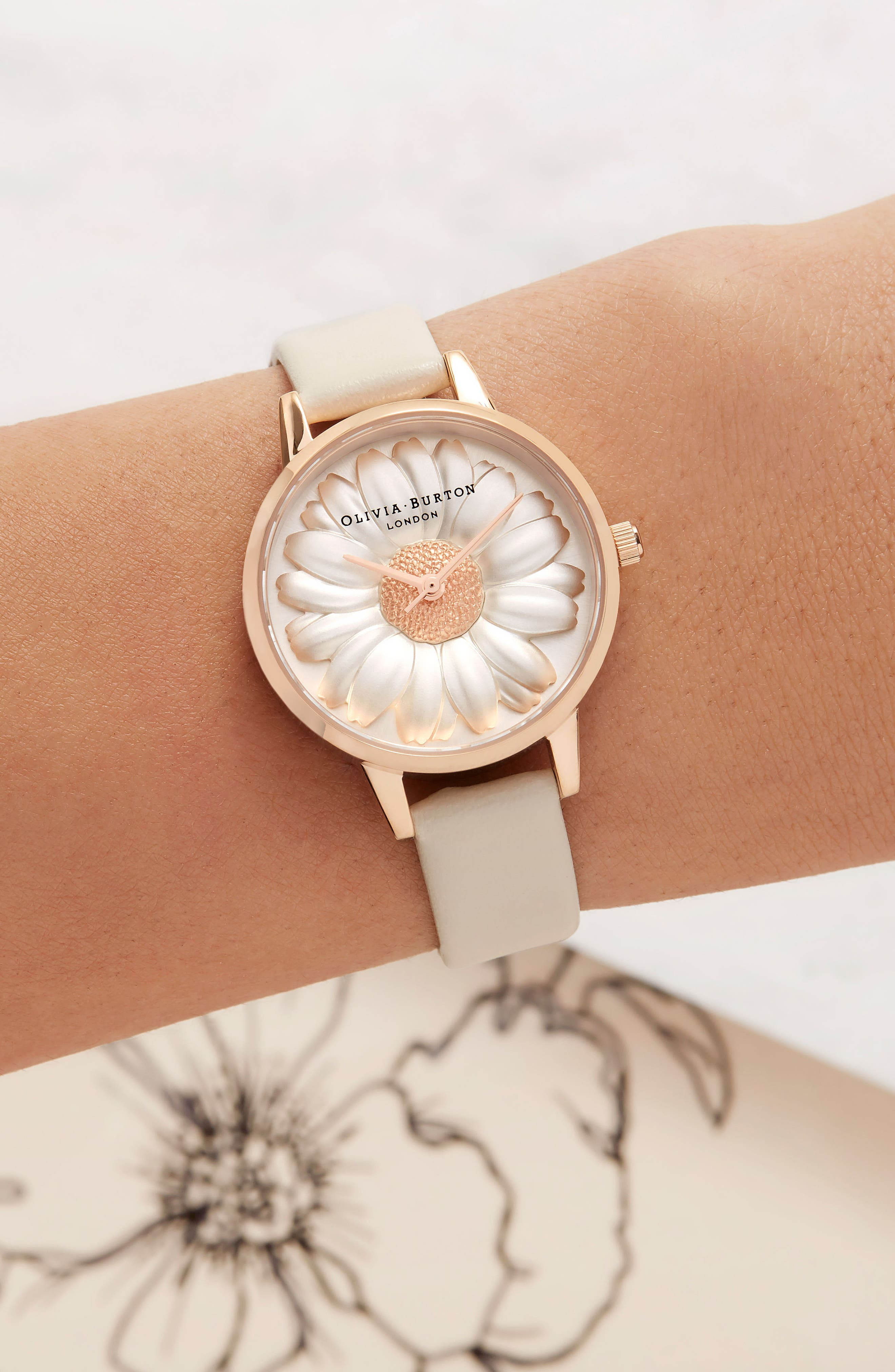 3D Daisey Faux Leather Strap Watch, 30mm,                             Alternate thumbnail 6, color,                             NUDE/ DAISY/ ROSE GOLD