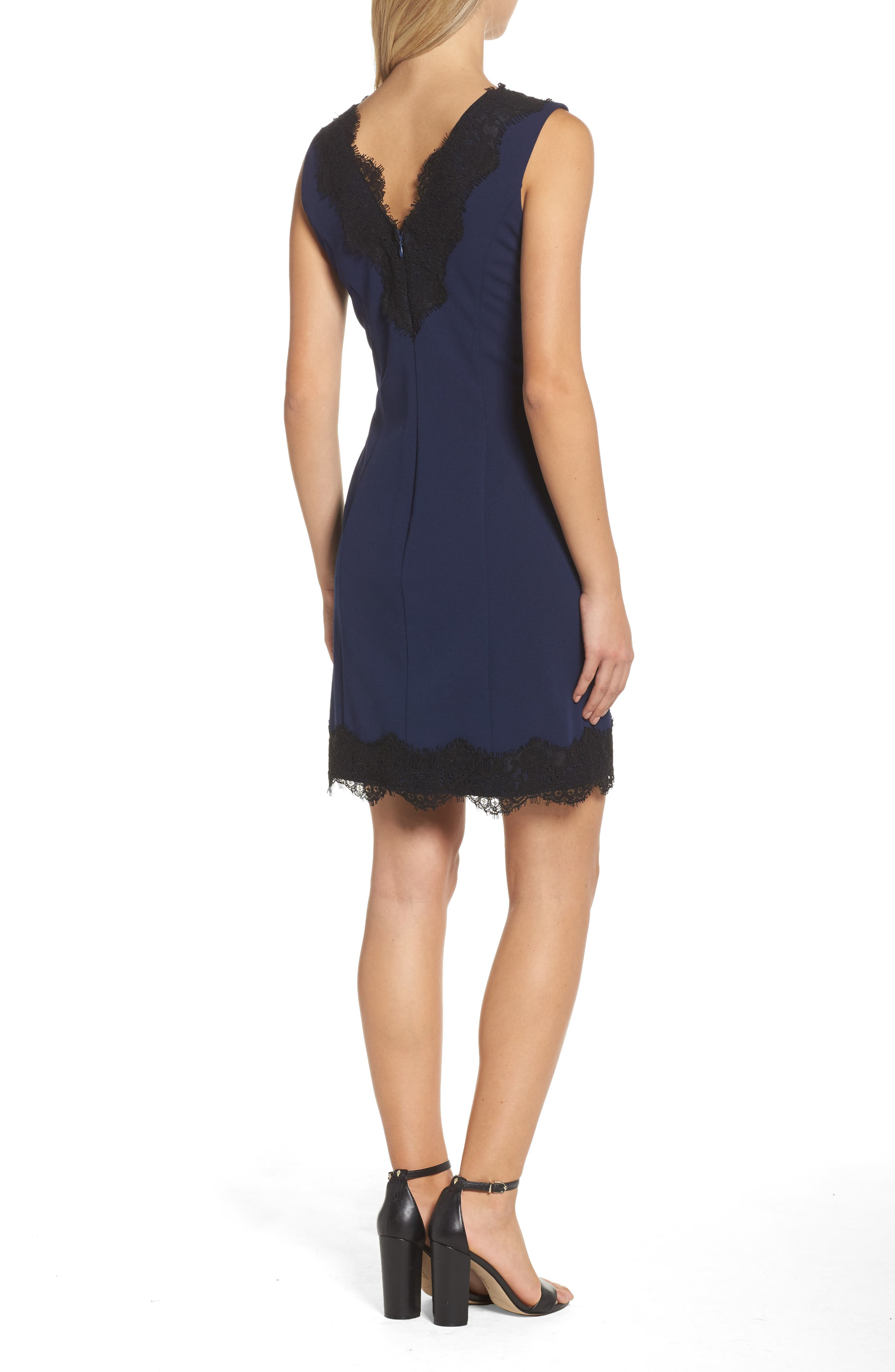 Lace Trim Sheath Dress,                             Alternate thumbnail 2, color,                             410