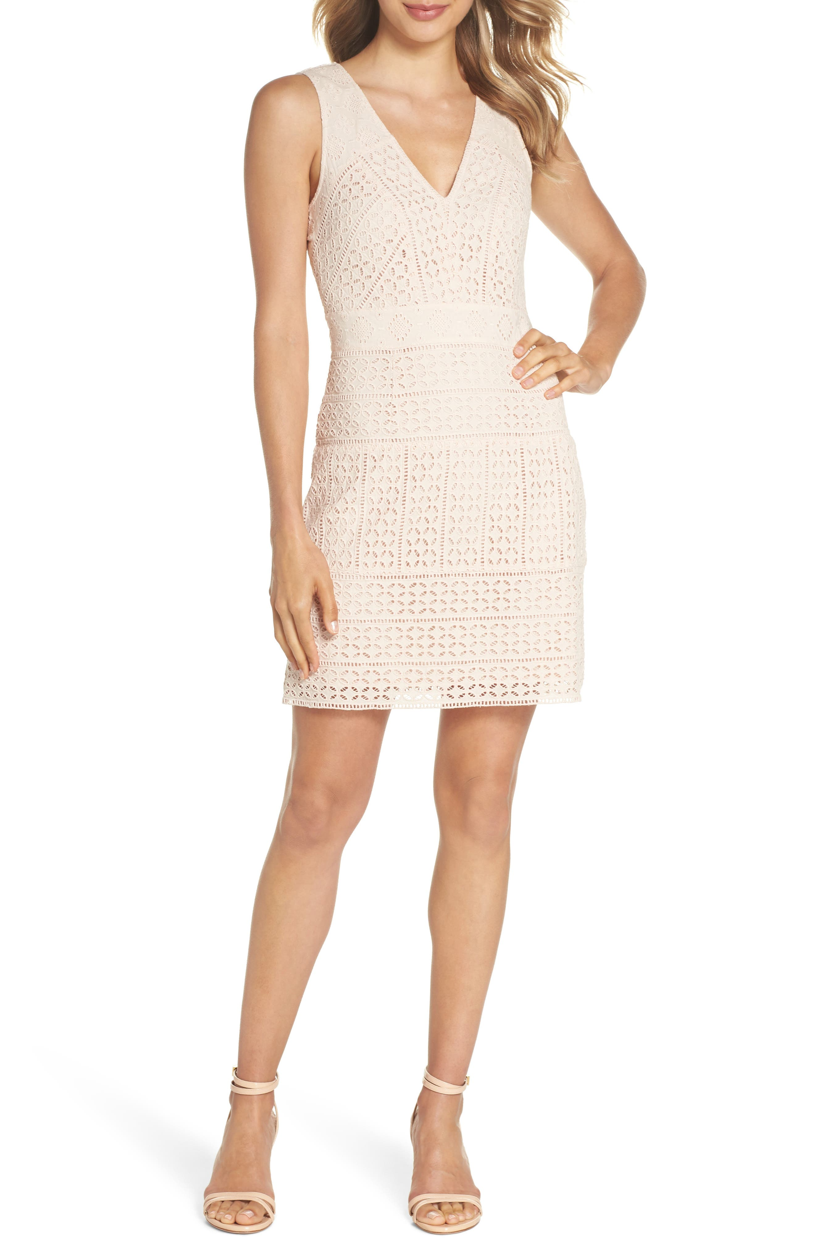 French Connection Schiffley Summer Cage Cotton Dress, Pink