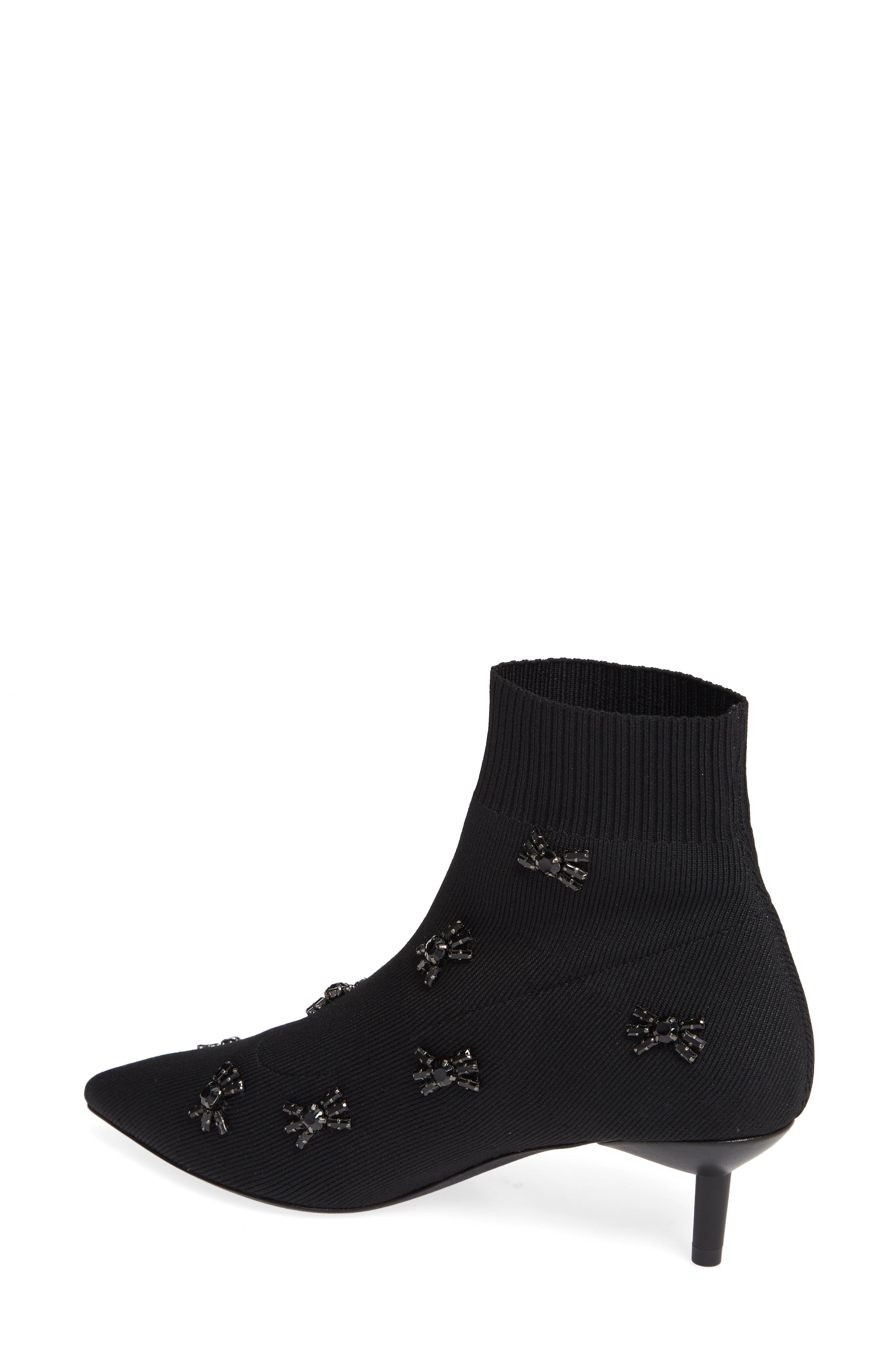 Betti Embellished Sock Bootie,                             Alternate thumbnail 2, color,                             BLACK KNIT FABRIC