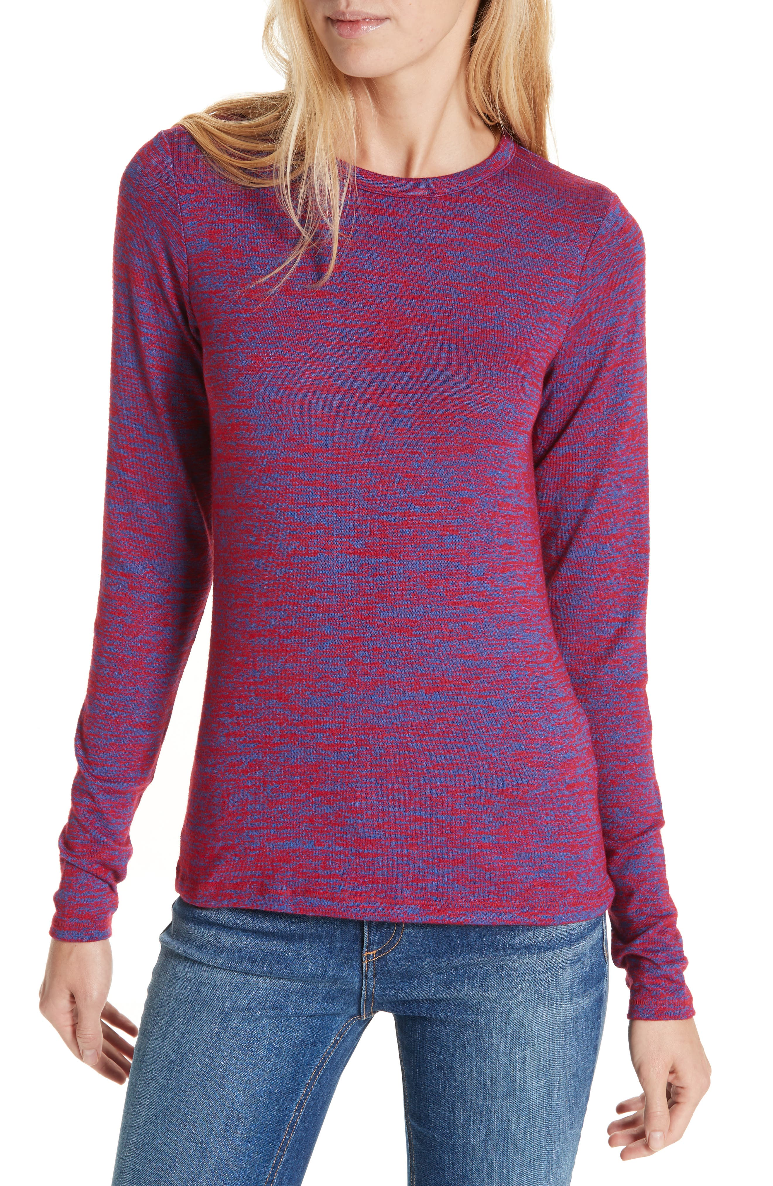 Crewneck Long-Sleeve Slim Patterned Jersey Tee in Red/Blue Multi