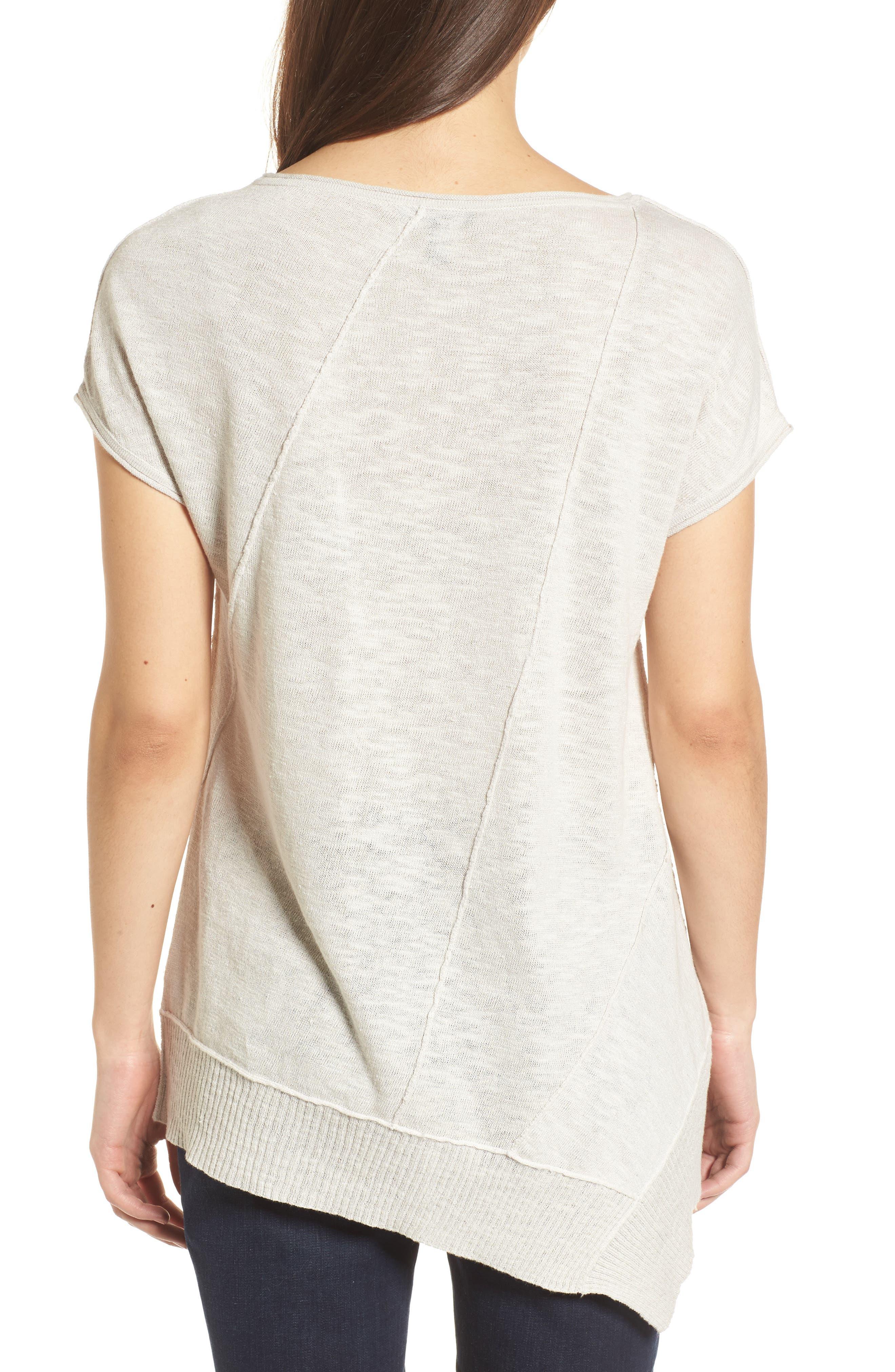 Cap Sleeve Organic Linen & Cotton Scoop Neck Top,                             Alternate thumbnail 21, color,