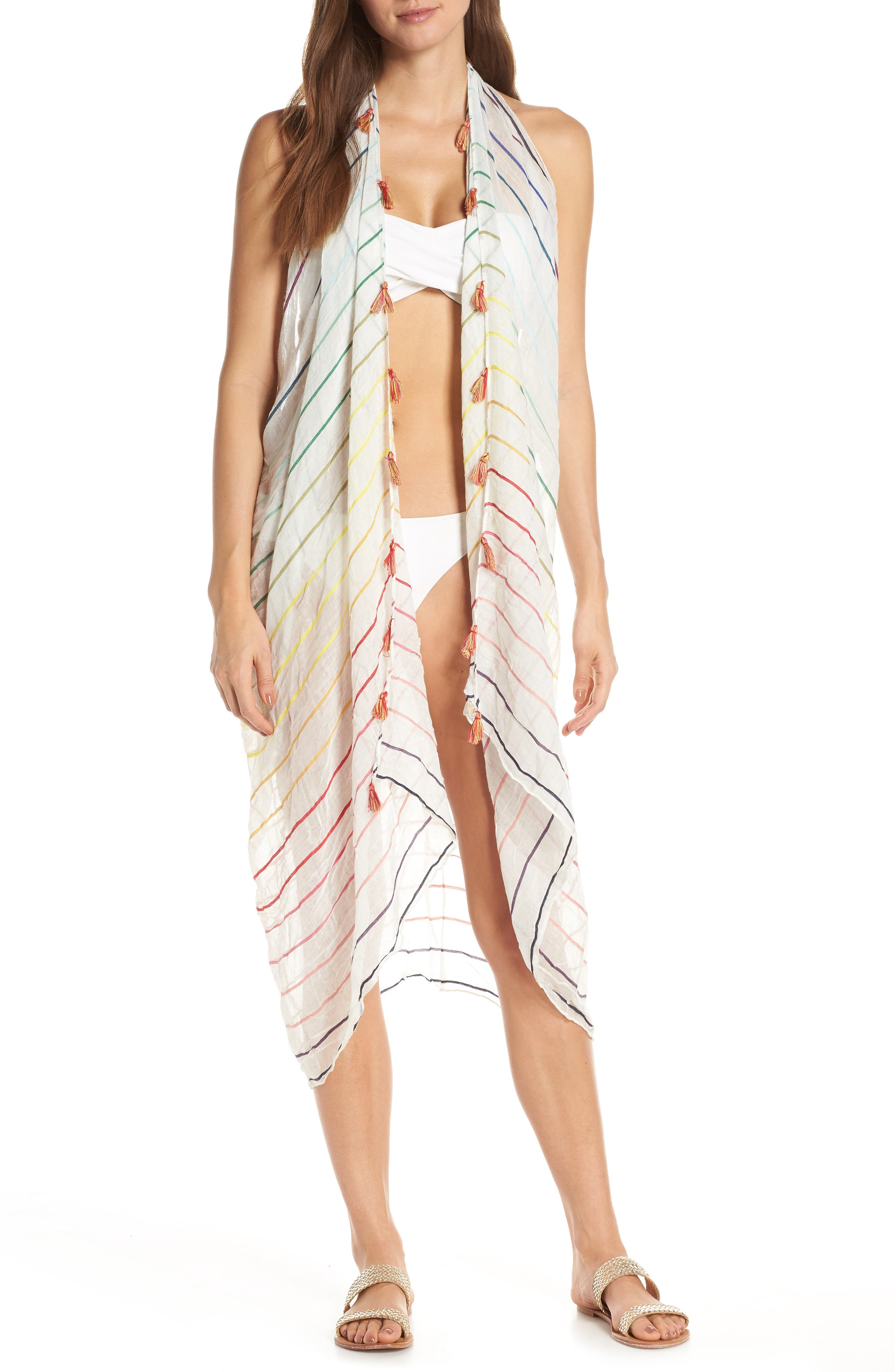 Pool To Party Spirit Cover-Up Vest, Size One Size - White